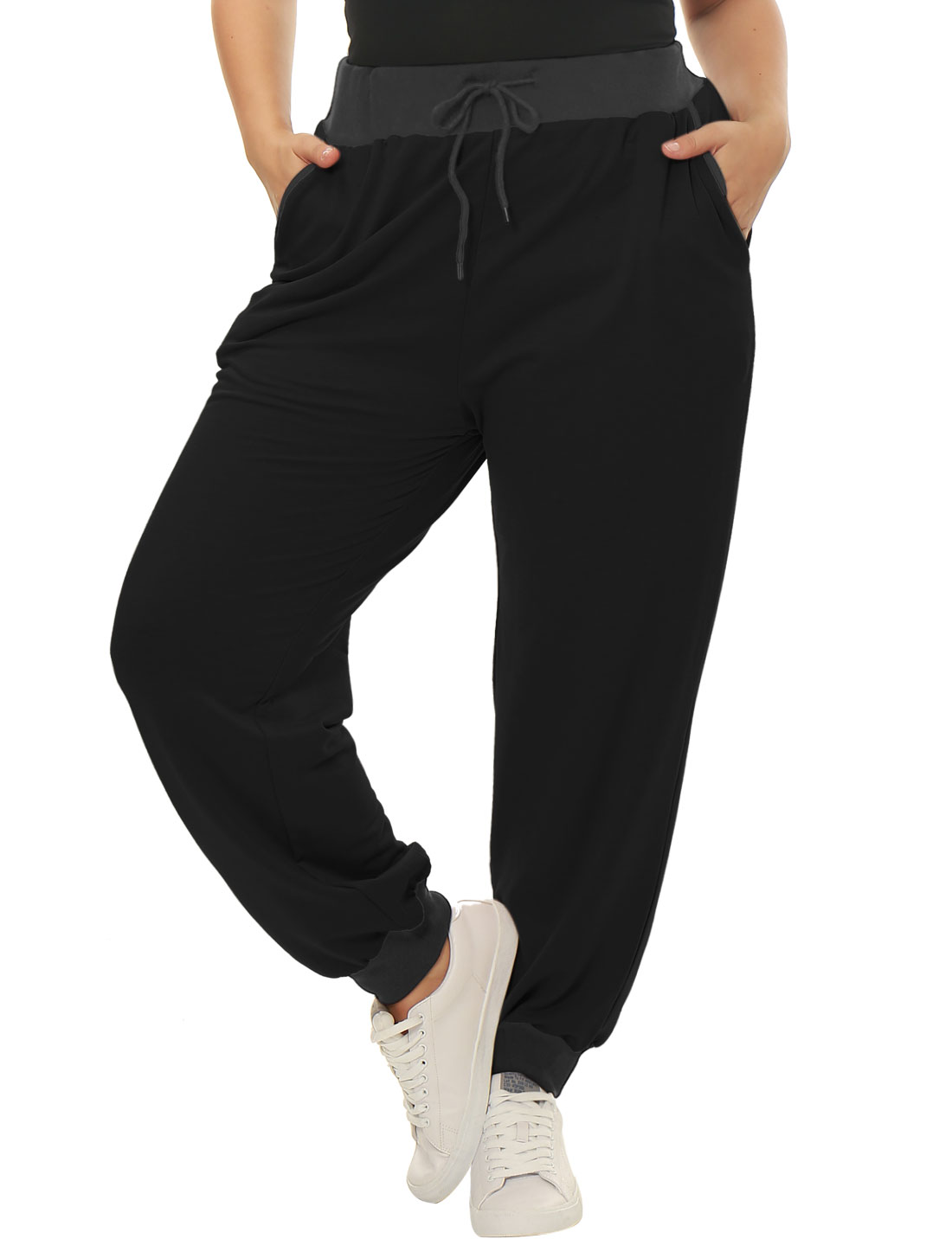 Women Plus Size Drawstring Waist Contrast Color Jogger Pants Black 1X
