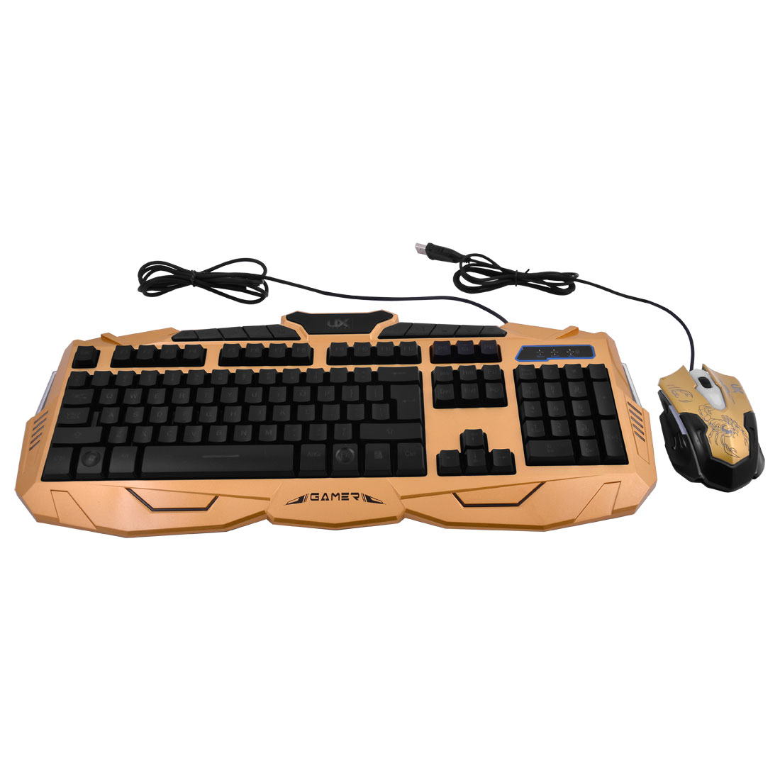 Adjustable LED Three Colors Back Light Wired Gaming Keyboard Mouse Set Gold Tone