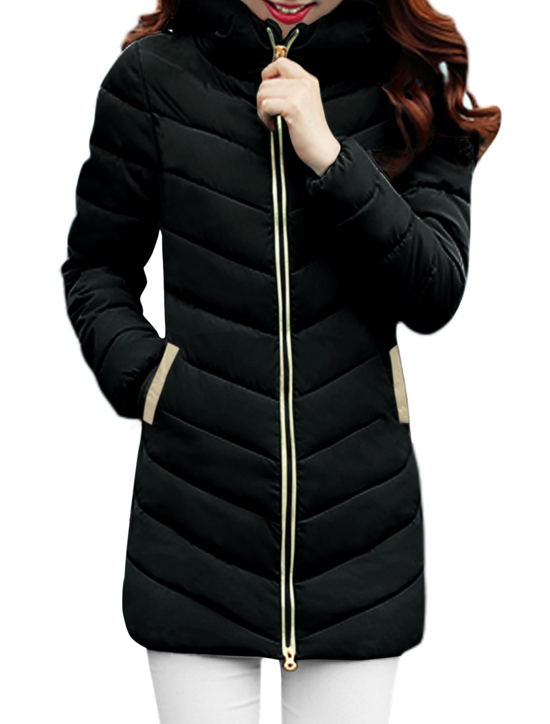 Women Hooded Zip Up Quilted Long Sleeves Padded Coat Black XS