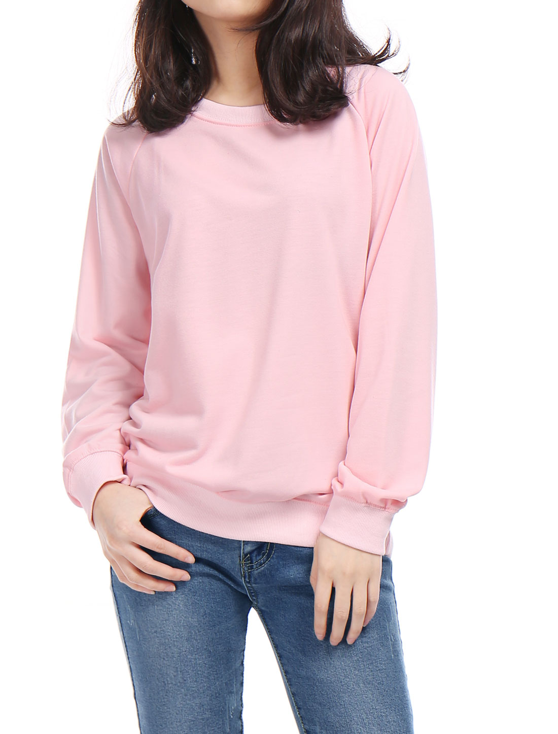 Ladies Ribbed Trim Crew Neck Long Raglan Sleeves Sweatshirt Pink XS
