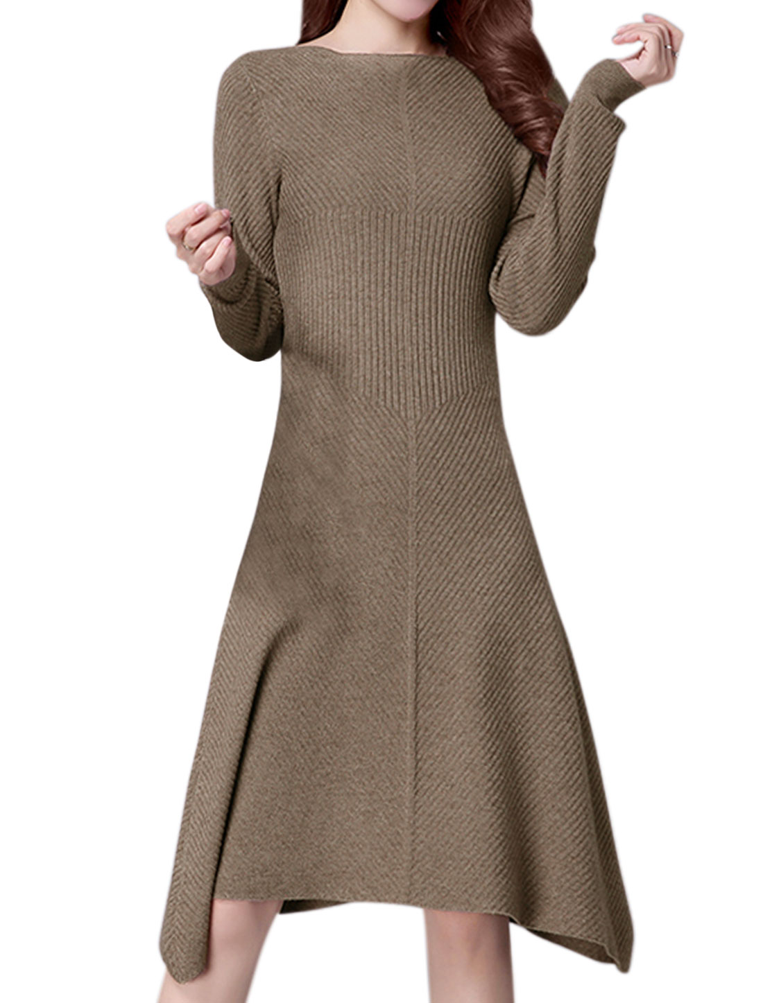 Women Long Sleeves Ribbed Design Knee Length A Line Knit Dress Brown XS