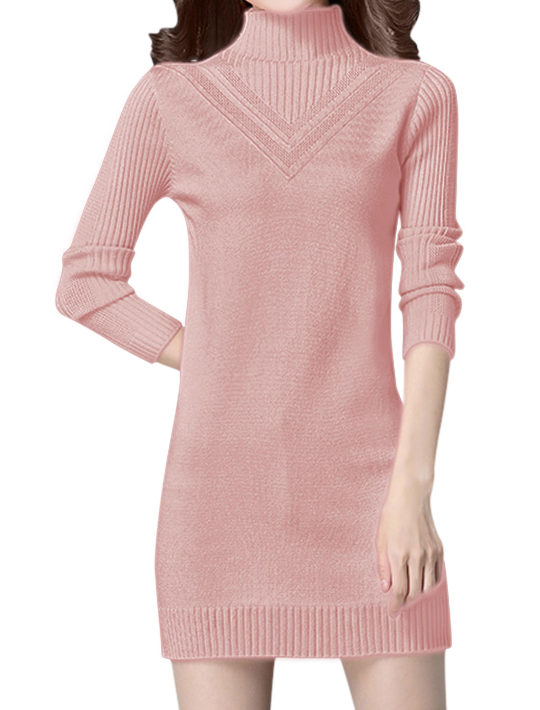 Women Turtle Neck Long Sleeves Slim Fit Tunic Knit Dress Pink XS