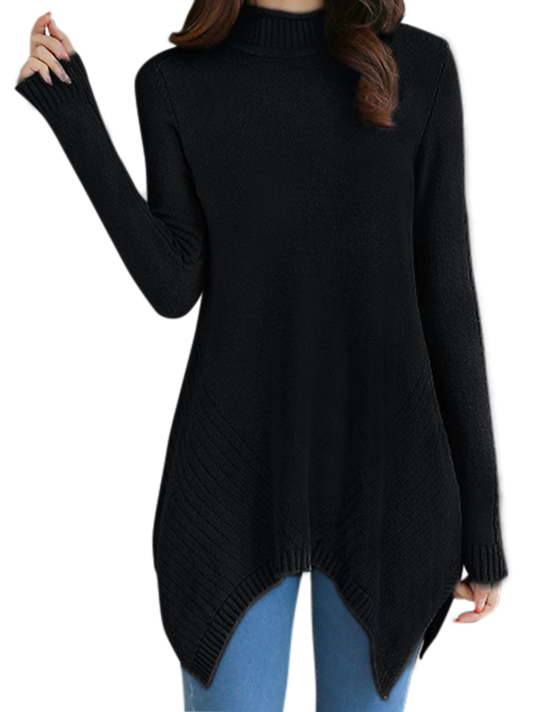 Women Long Sleeves Asymmetric Hem Tunic Cable Knit Top Black XS