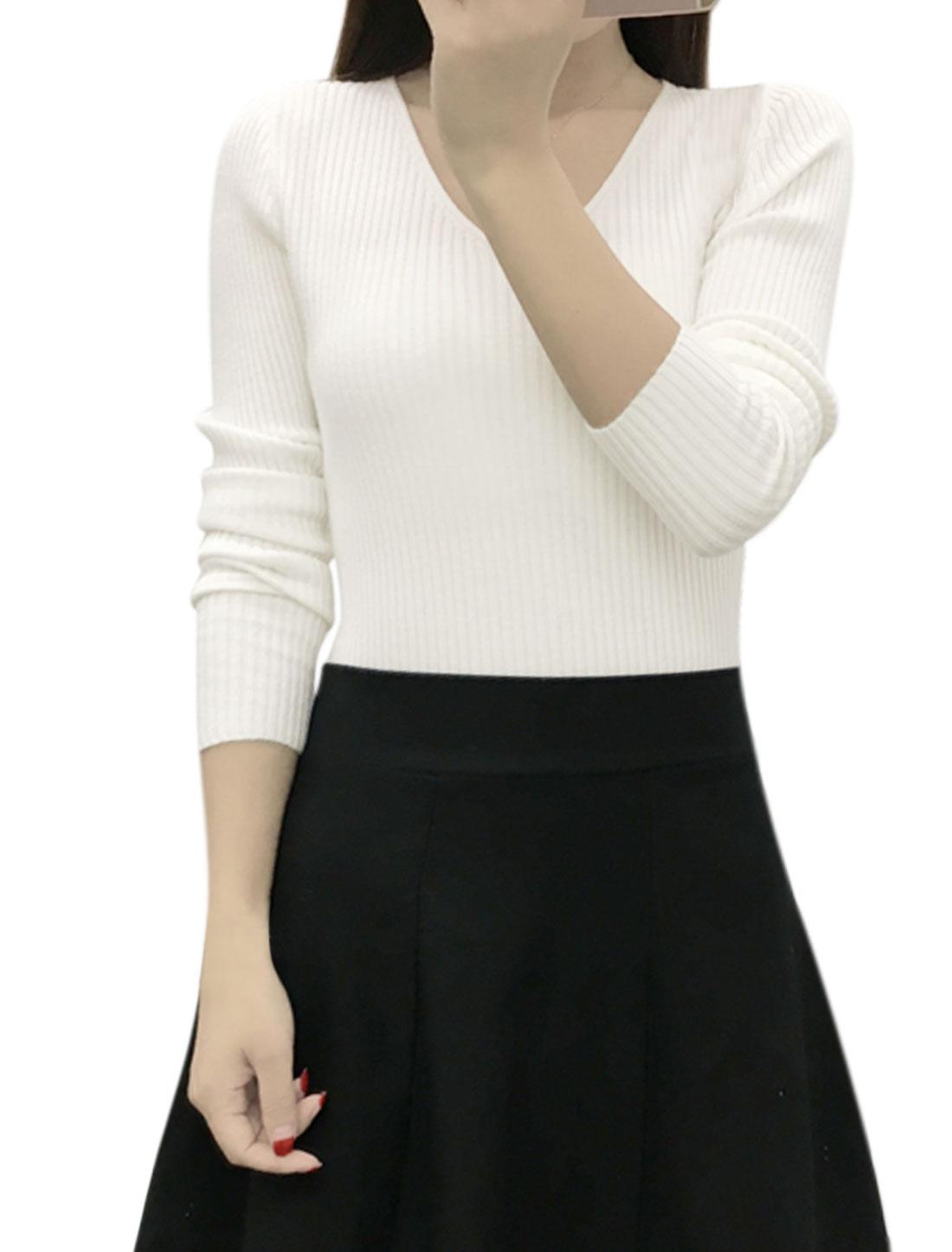 Women Long Sleeves V Neck Ribbed Slim Fit Knit Shirt White XS