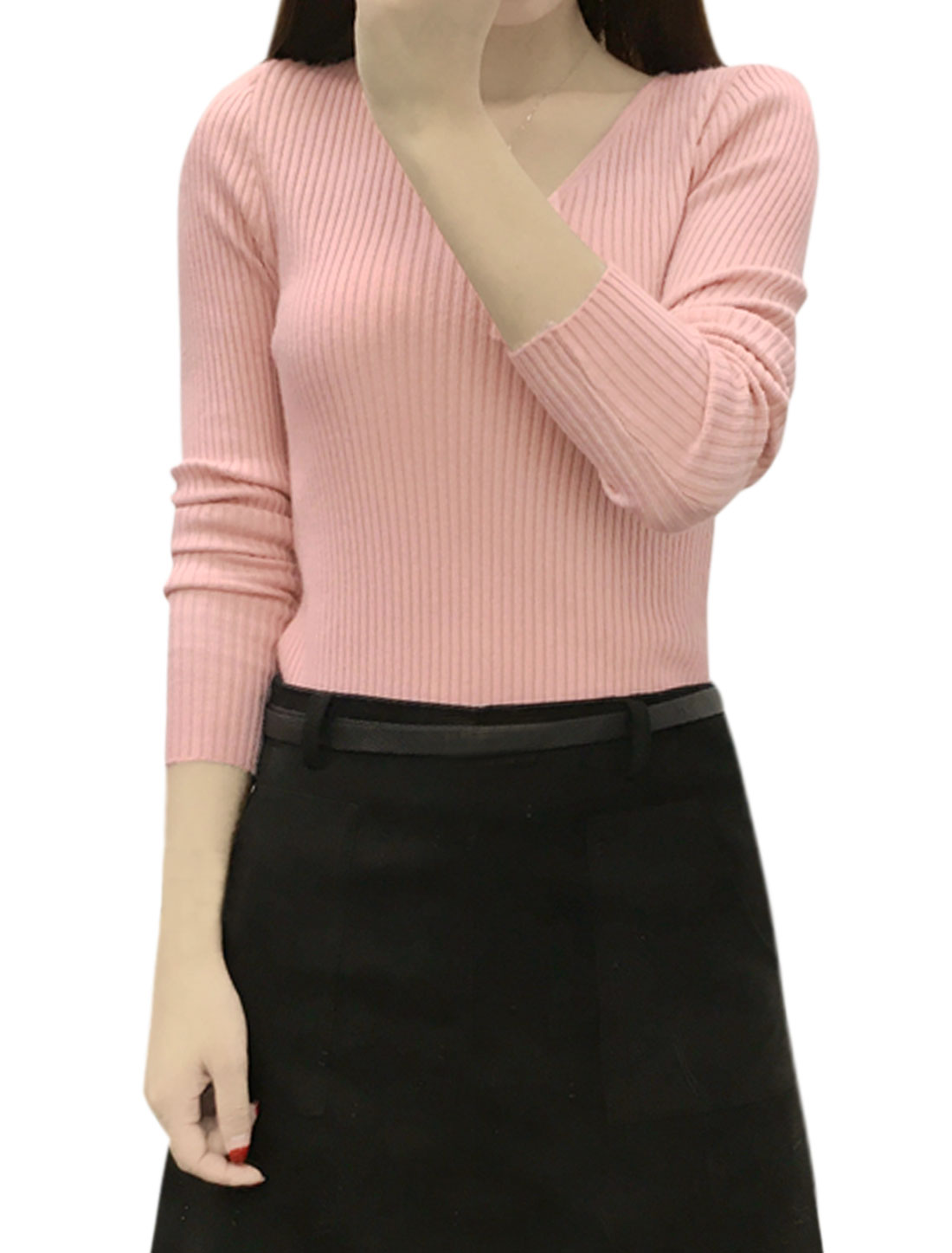 Women Long Sleeves V Neck Ribbed Slim Fit Knit Shirt Pink XS
