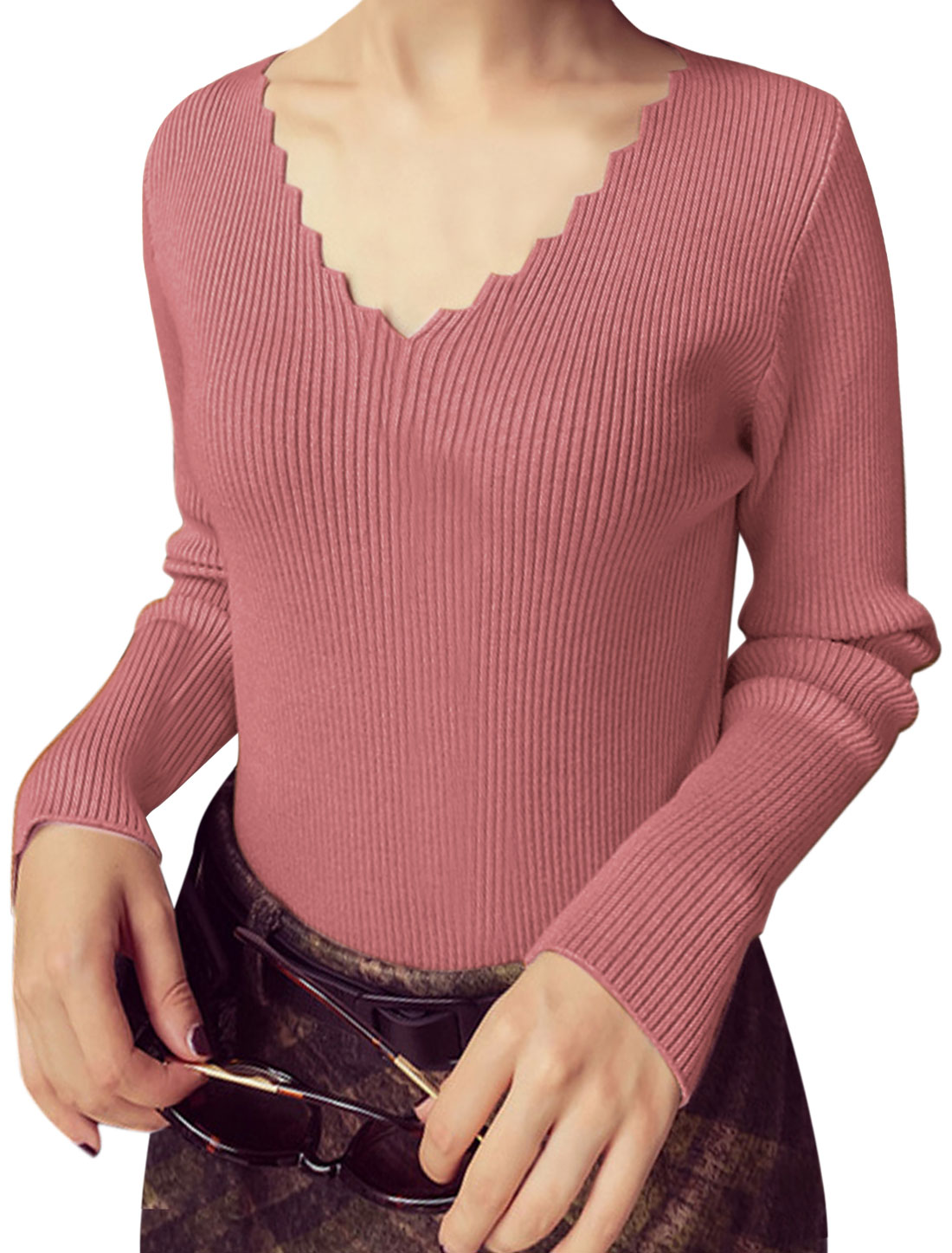Women Scalloped V Neck Long Sleeves Slim Fit Knit Top Pink XS