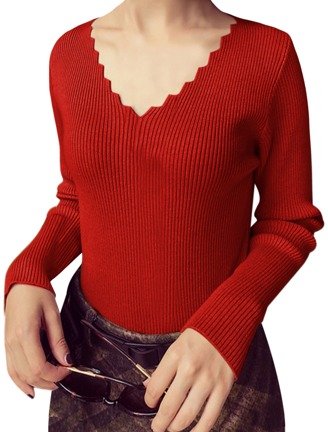 Women Scalloped V Neck Long Sleeves Slim Fit Knit Top Red XS