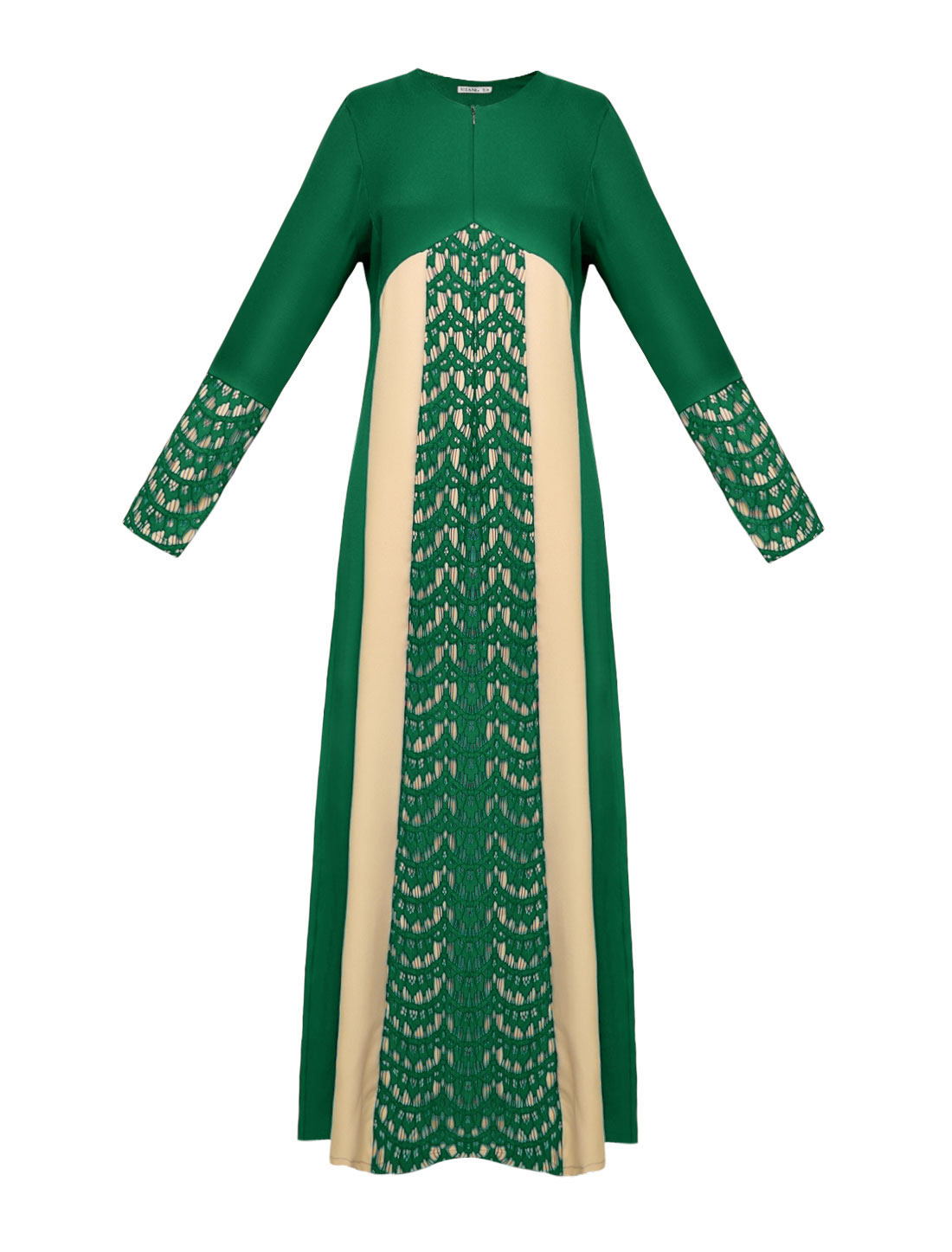 Women Lace Panel Contrast Color Long Sleeves Maxi Dress Green S