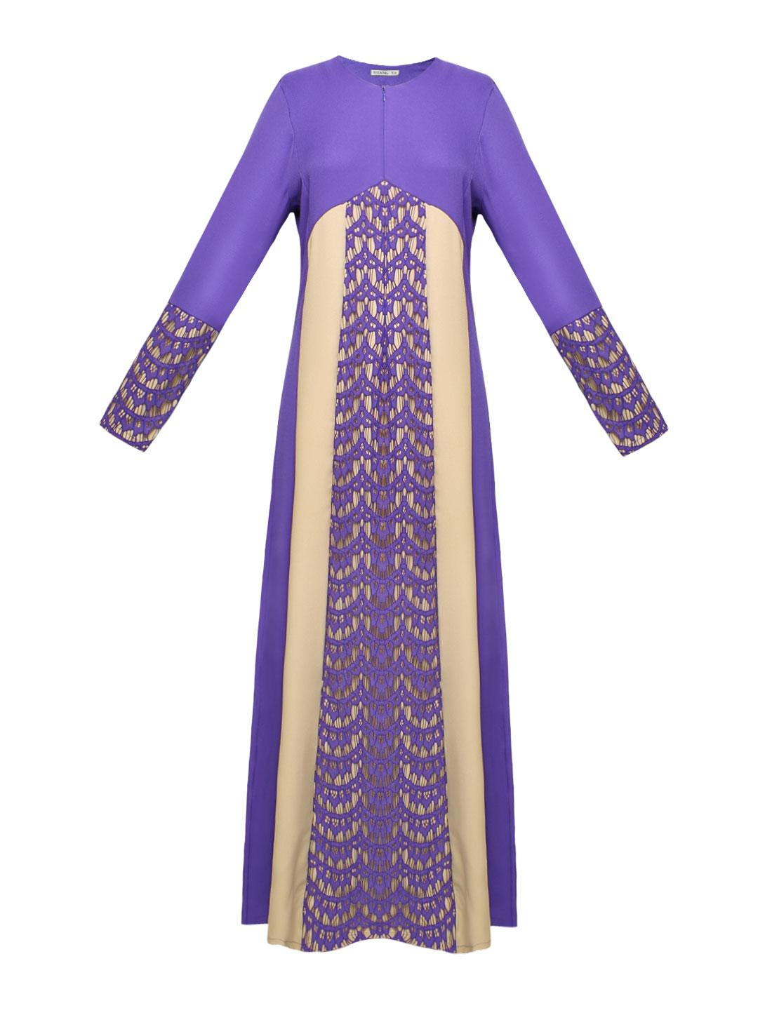 Women Lace Panel Contrast Color Long Sleeves Maxi Dress Purple S