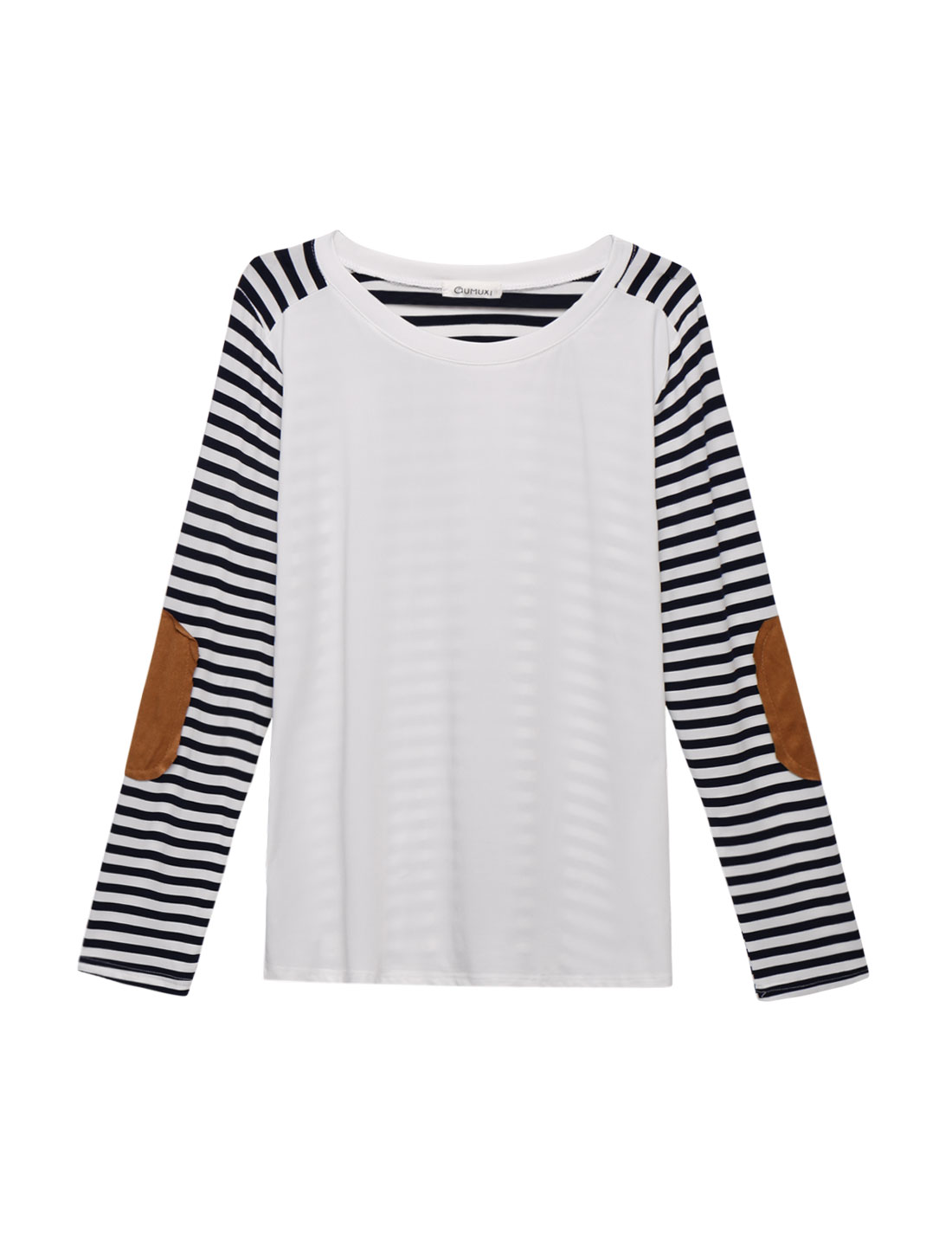 Women Long Sleeves Elbow Patch Paneled Stripes Loose T-shirt White XS