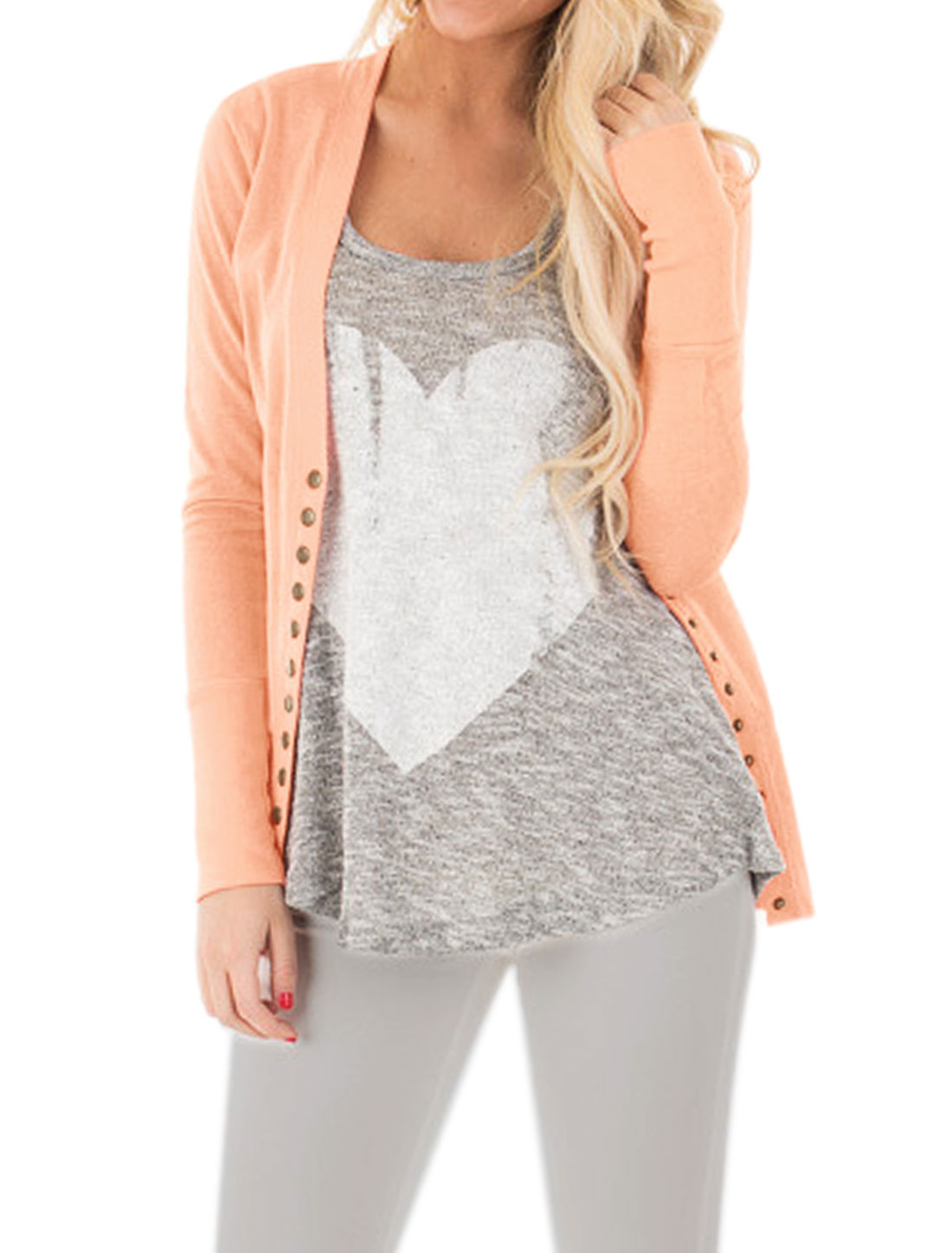 Ladies Long Sleeves Snap Button Closed V Neck Cardigan Pink XS