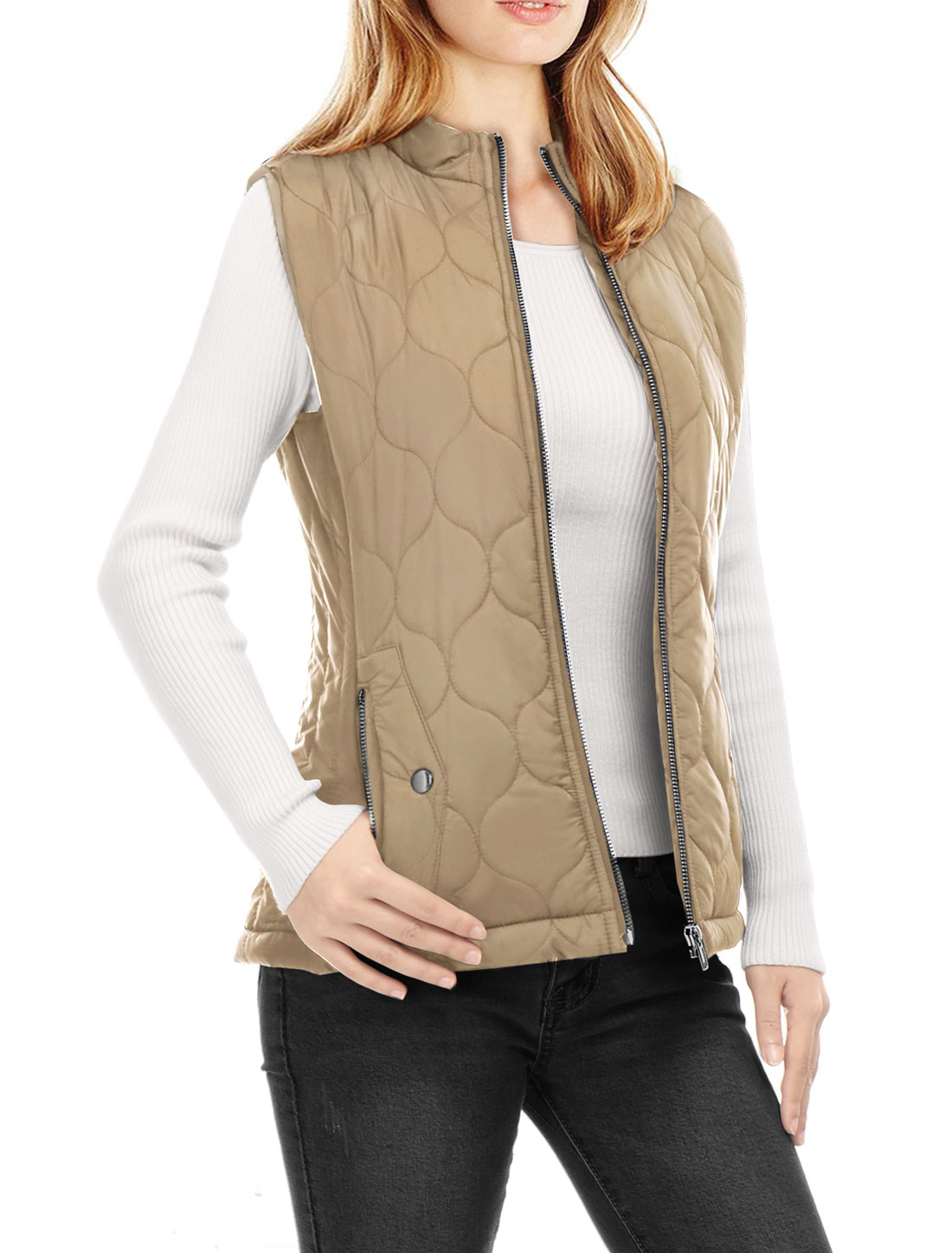 Women Stand Collar Side Pockets Zippered Quilted Padded Vest Khaki XL