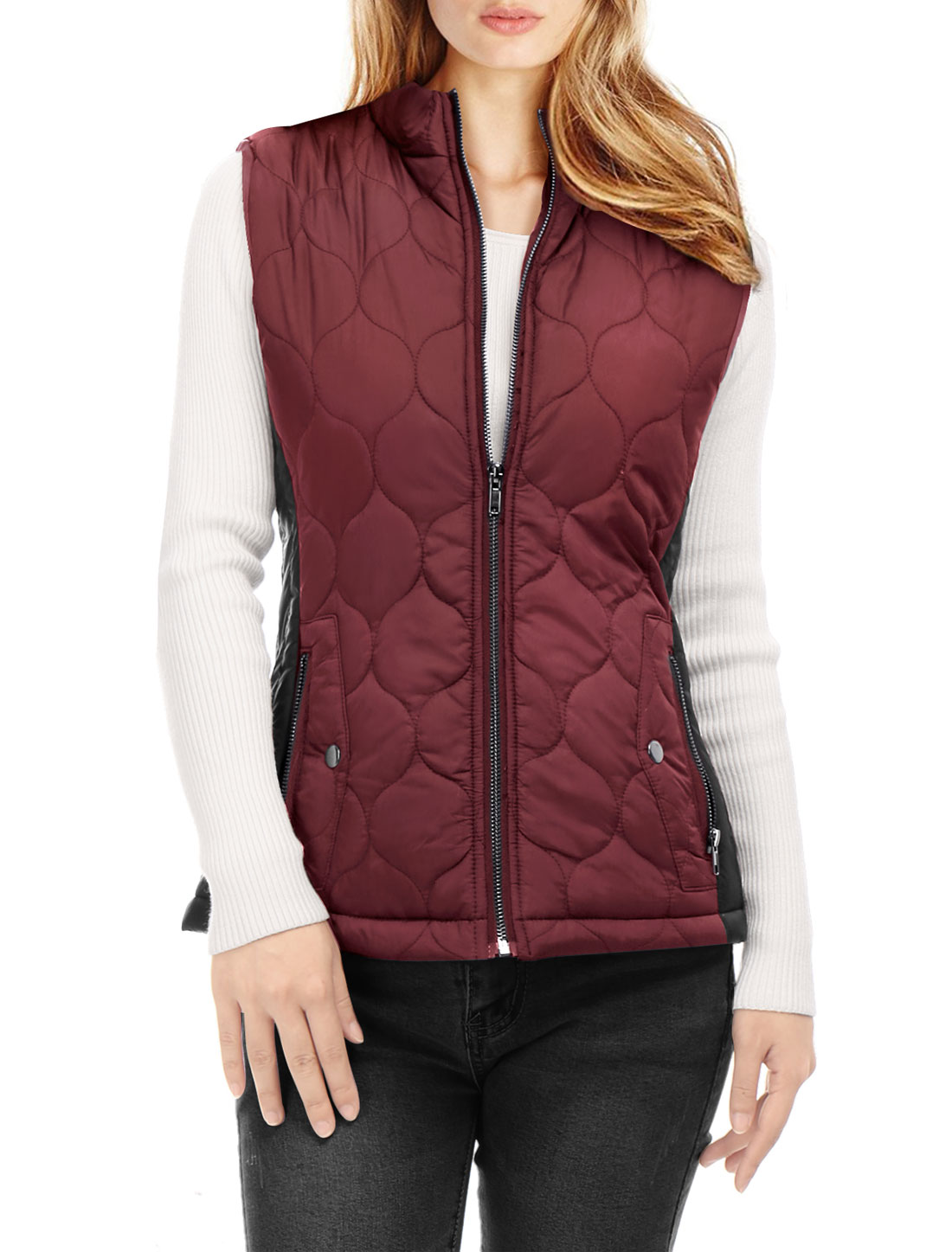 Women Stand Collar Contrast Color Zip Up Quilted Padded Vest Burgundy M
