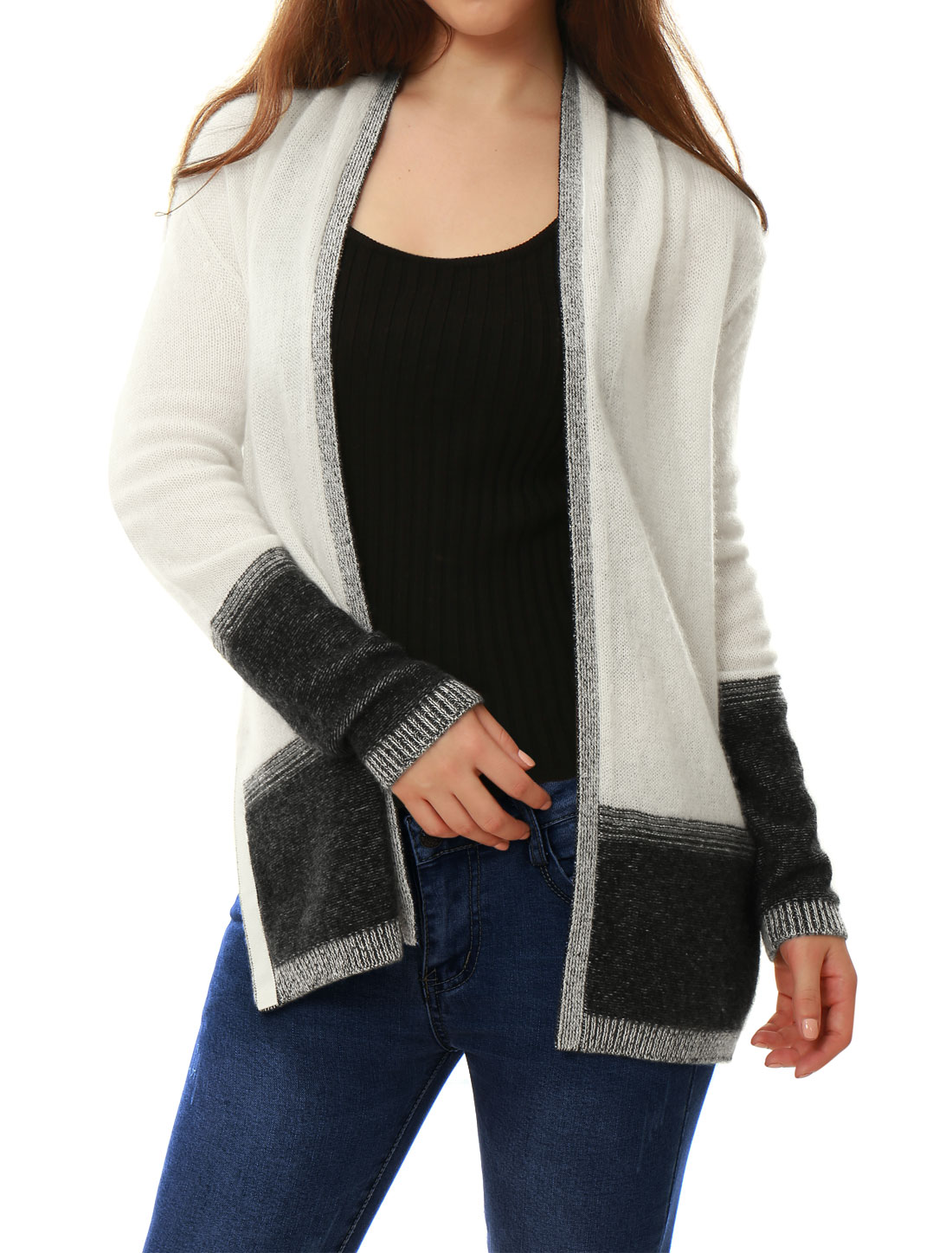 Women Contrast Color Plaited Cashmere Cardigan White XL