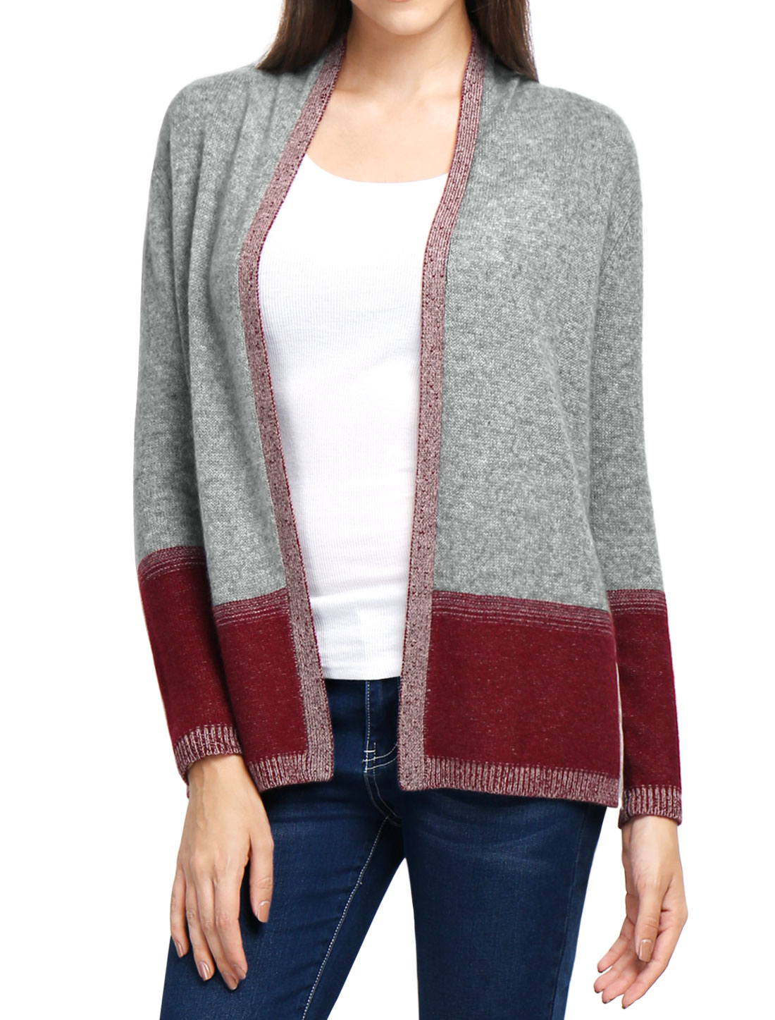 Women Contrast Color Plaited Cashmere Cardigan Gray XL