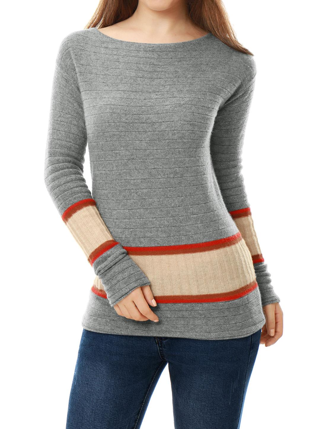 Women Boat Neck Jersey Contrast Rib Knit Cashmere Sweater Orange L