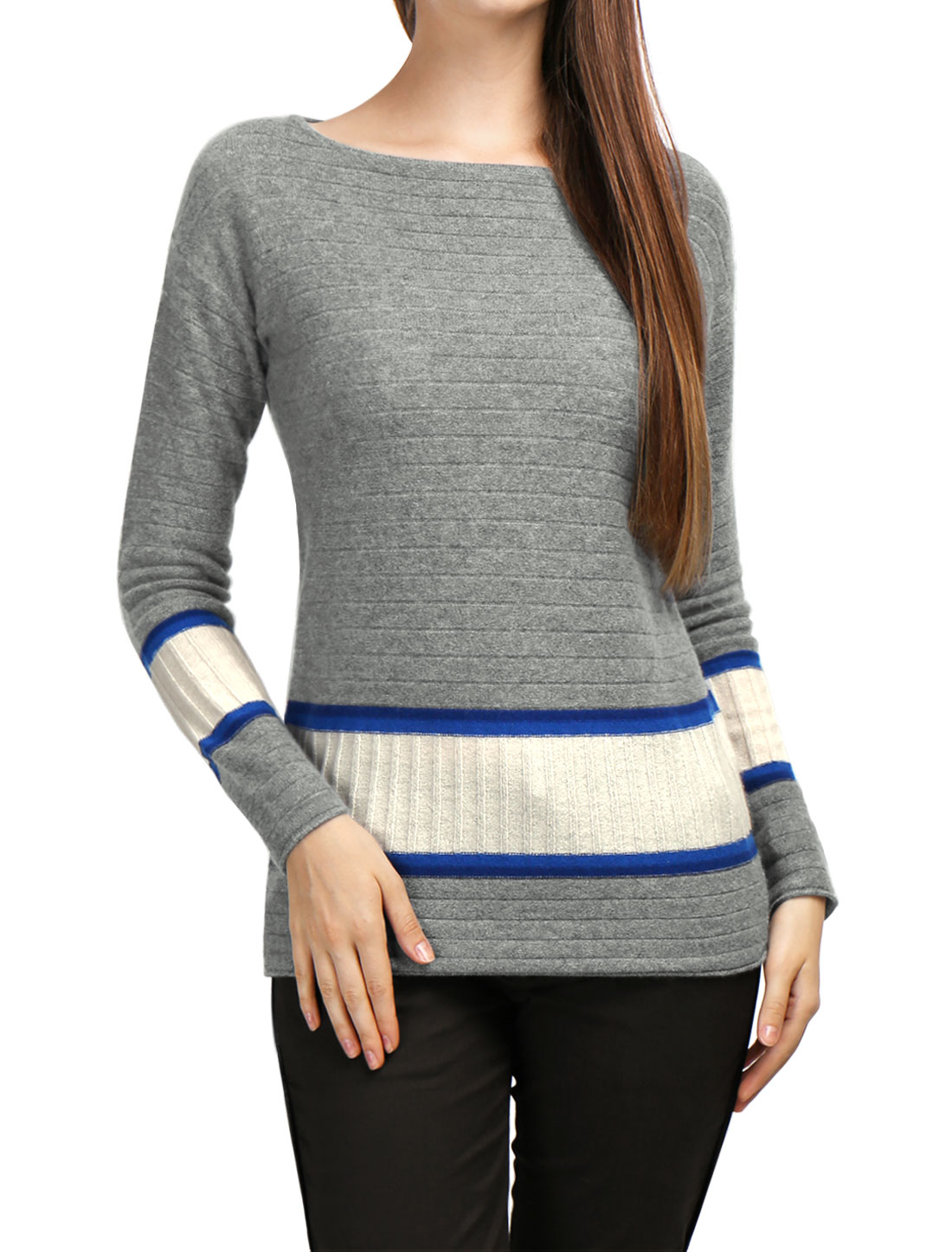 Women Boat Neck Jersey Contrast Rib Knit Cashmere Sweater Blue L