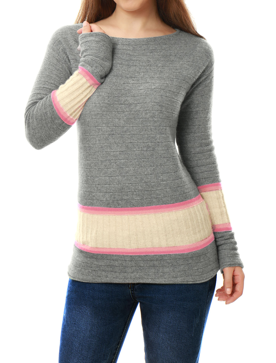Women Boat Neck Jersey Contrast Rib Knit Cashmere Sweater Pink L