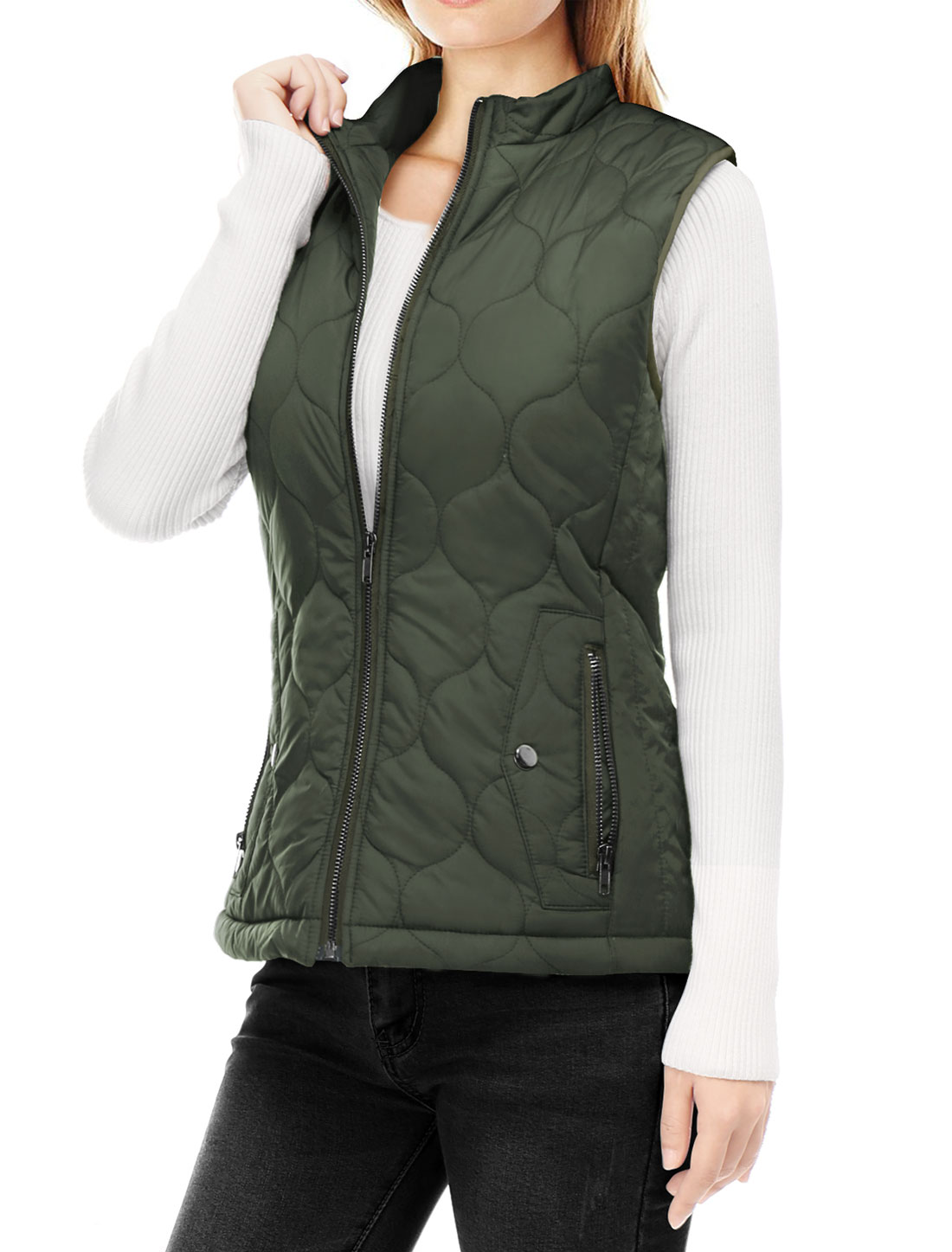 Women Stand Collar Side Pockets Zippered Quilted Padded Vest Green M