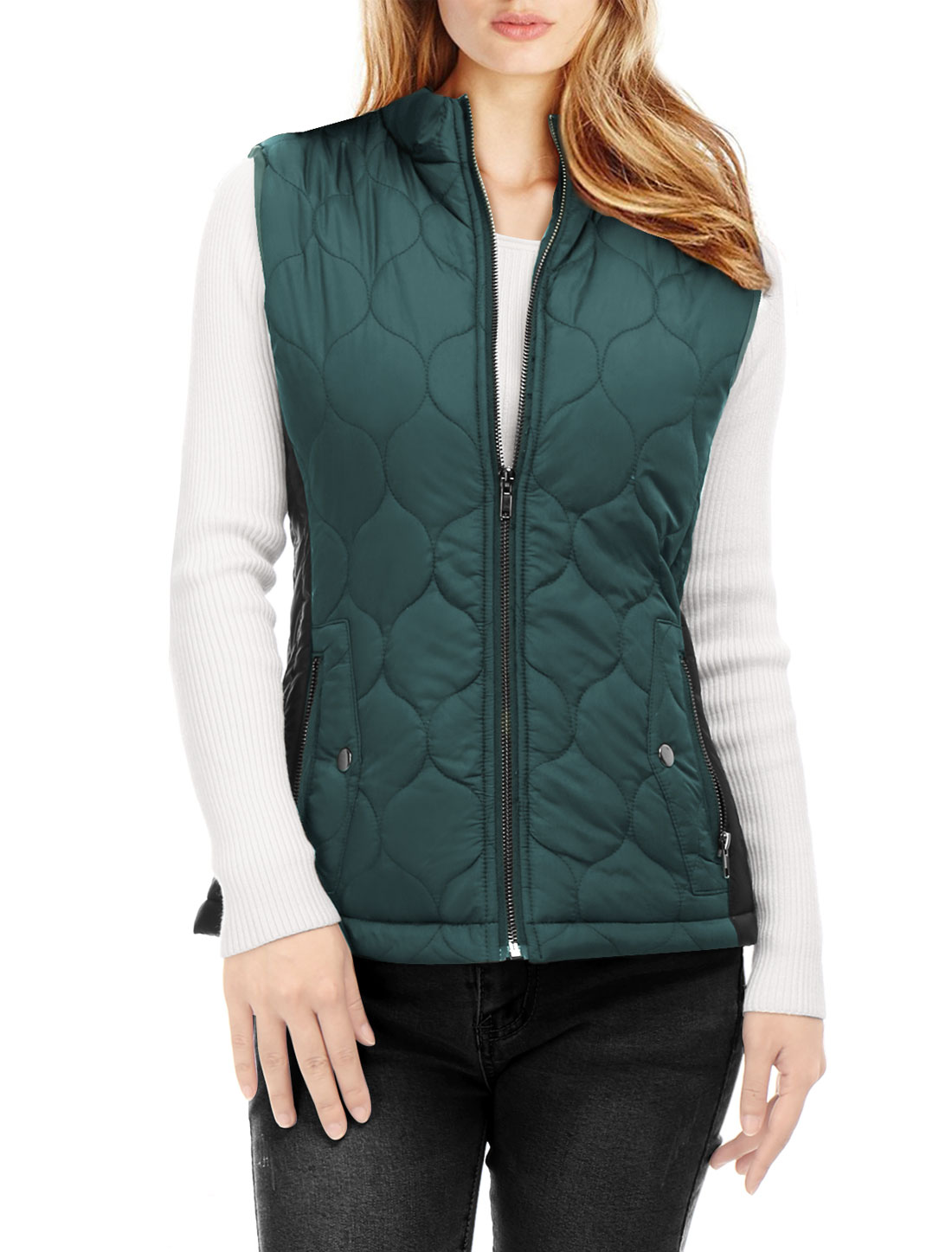 Women Contrast Color Zip Up Quilted Padded Vest Turquoise L