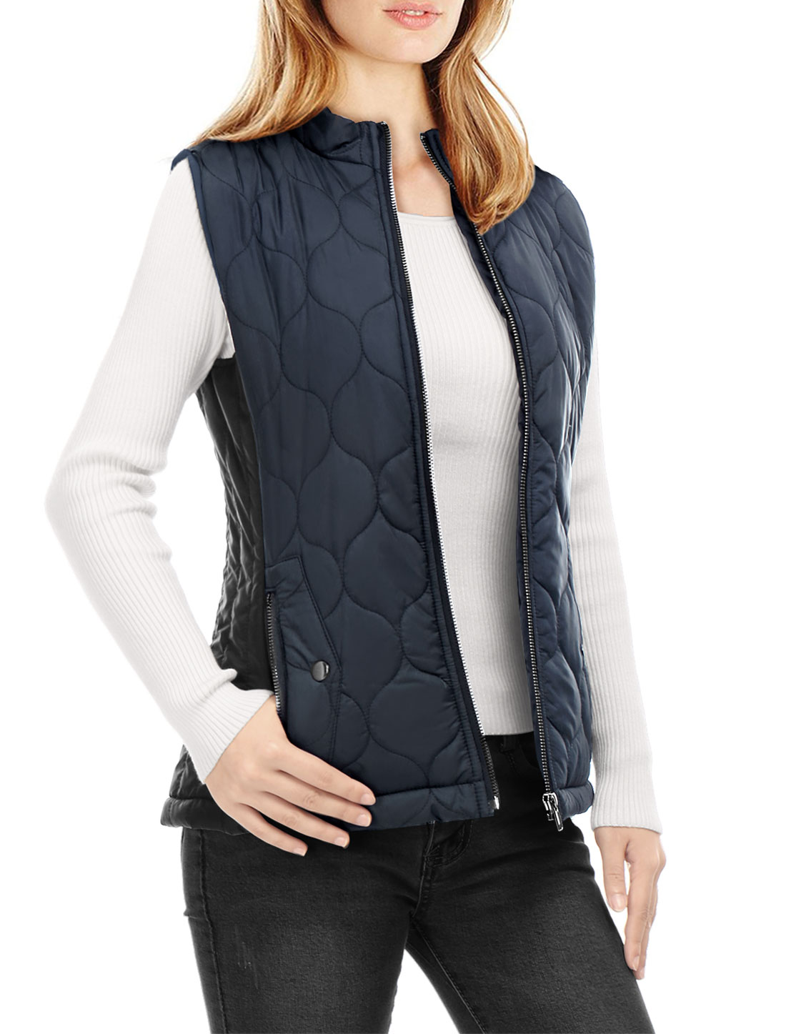 Women Stand Collar Contrast Color Zip Up Quilted Padded Vest Dark Blue L