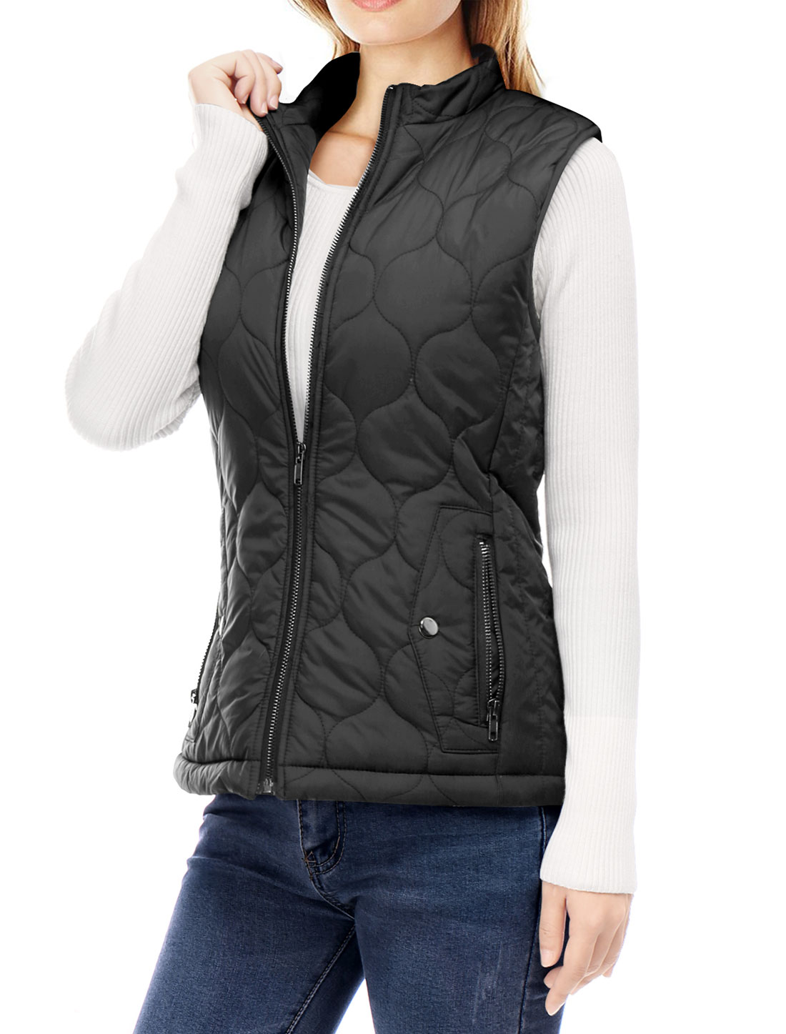 Women Stand Collar Side Pockets Zippered Quilted Padded Vest Black L