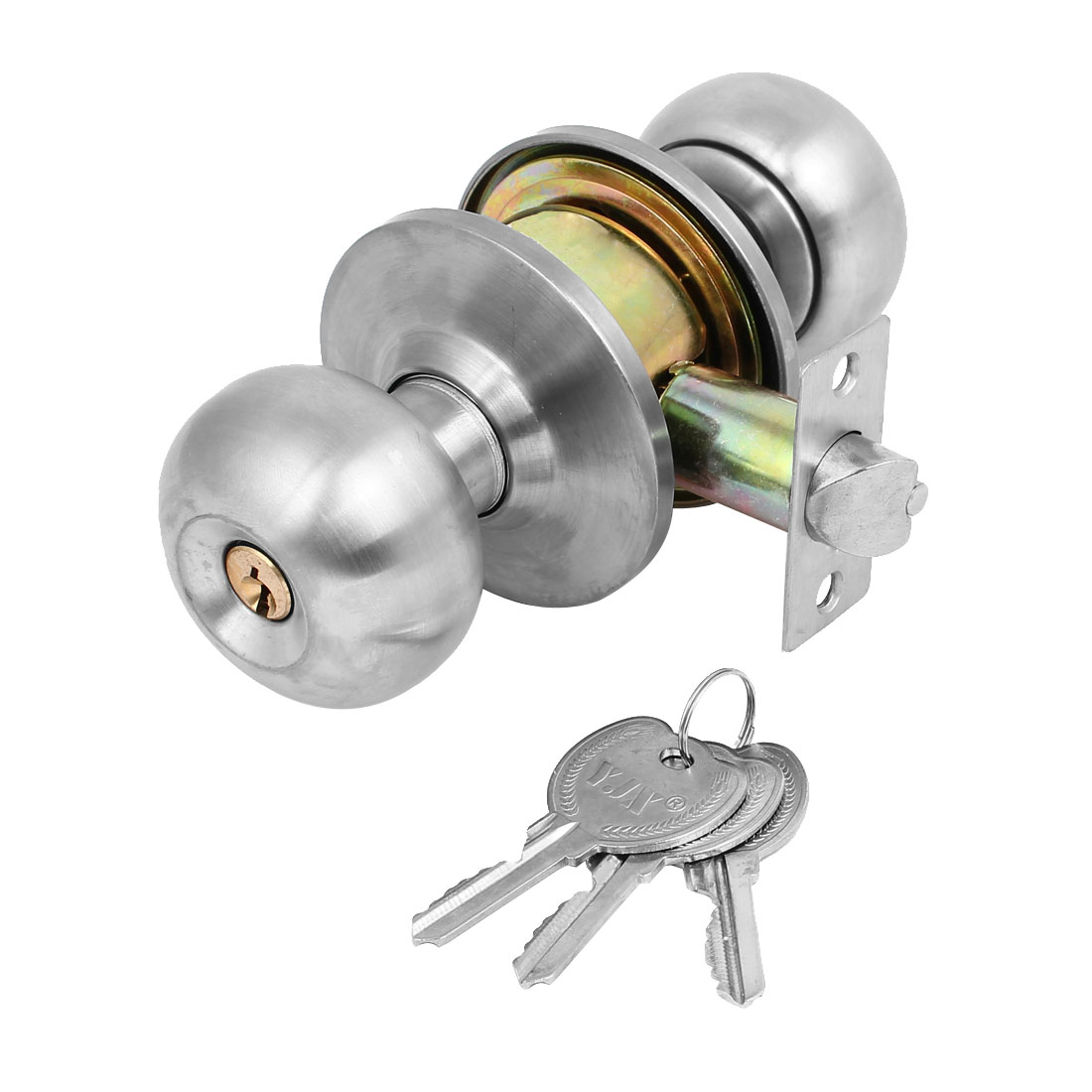 Ball Keyed Entry Door Knob Lock Set with Three Keyed Knobset for Bedroom and Bath Stainless Brushed