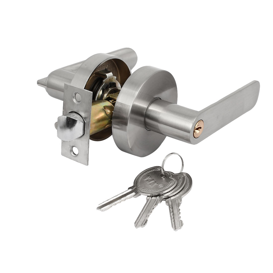 Keyed Front Entry Door Lever Handle Knob Lock Leverset Lockset 70mm Diameter