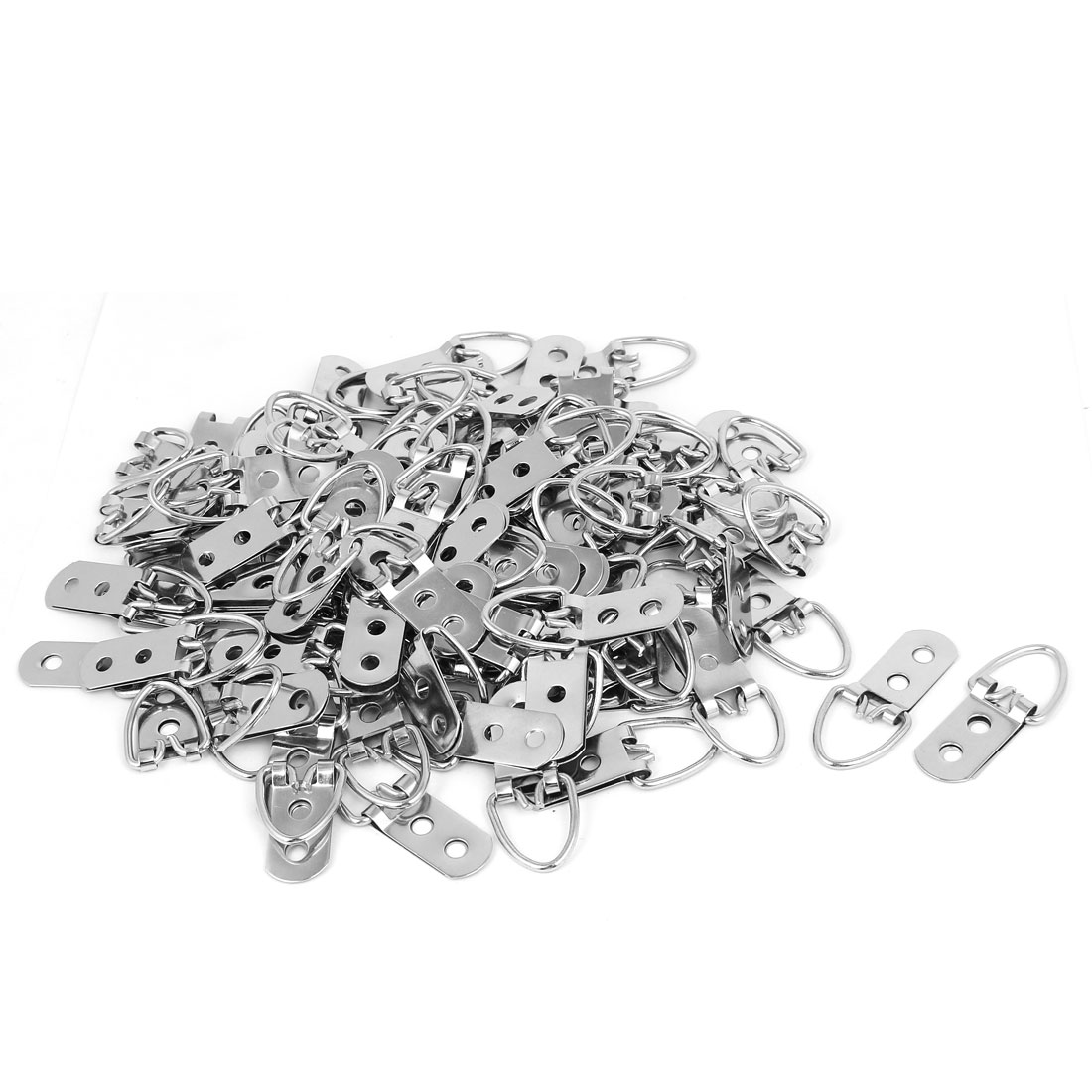 Double Hole D-Ring Picture Frame Hanging Metal Strap Hanger Silver Tone 100PCS