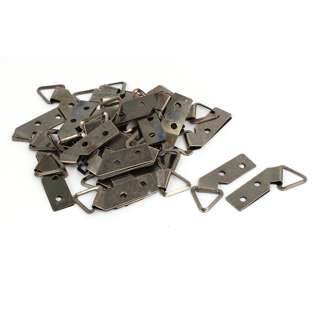 Iron Nickel Plated Double Hole Triangle Ring Picture Frame Hanging Hanger 30pcs