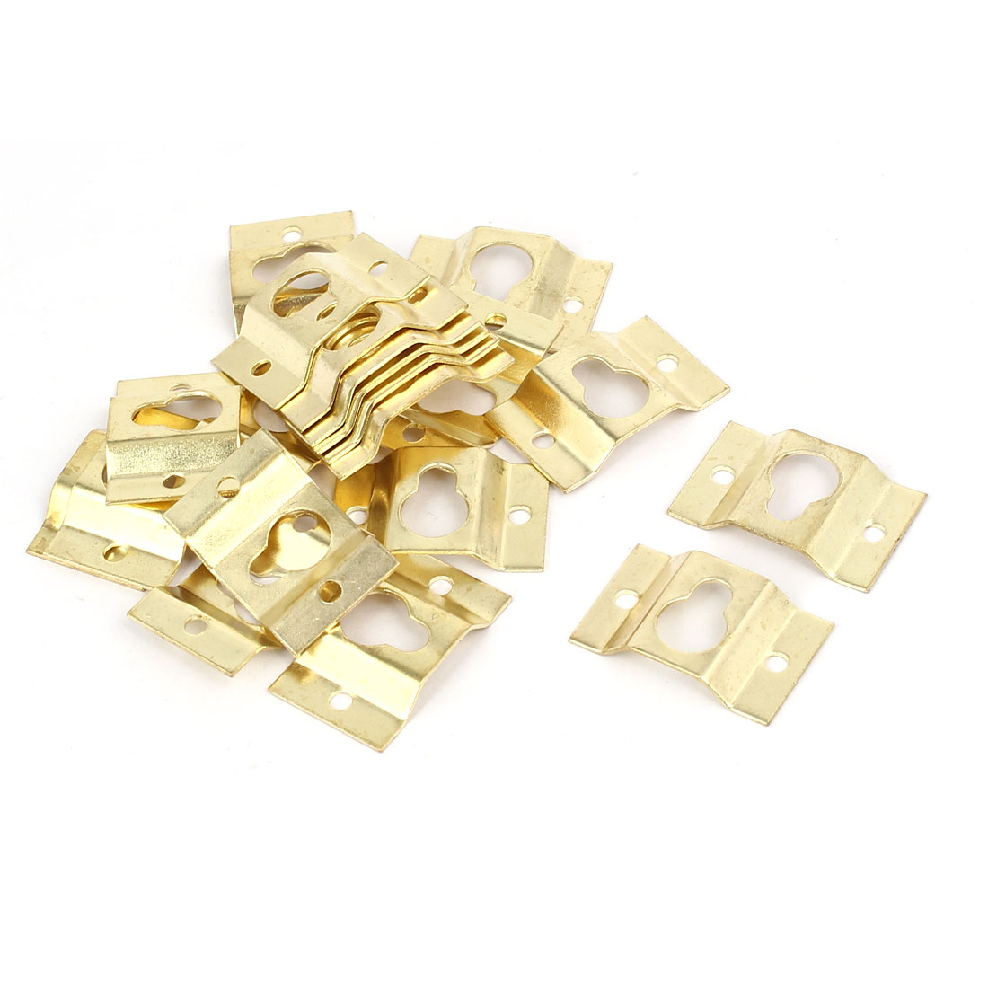 28mmx18mmx4mm Wall Hanging Picture Photo Frame Hidden Hook Gold Tone 20pcs