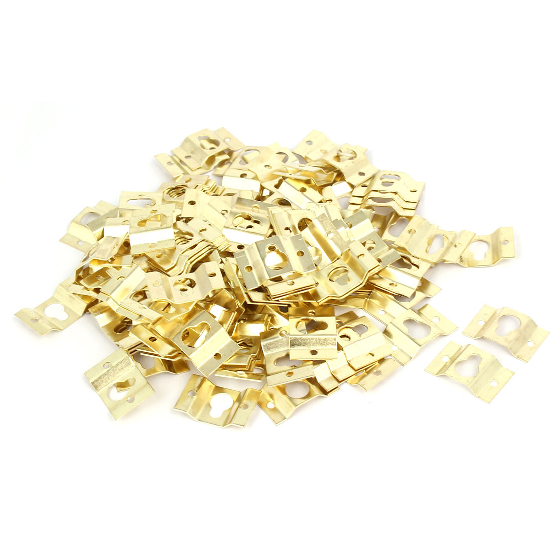 28mmx18mmx4mm Wall Hanging Picture Photo Frame Hidden Hook Gold Tone 200pcs
