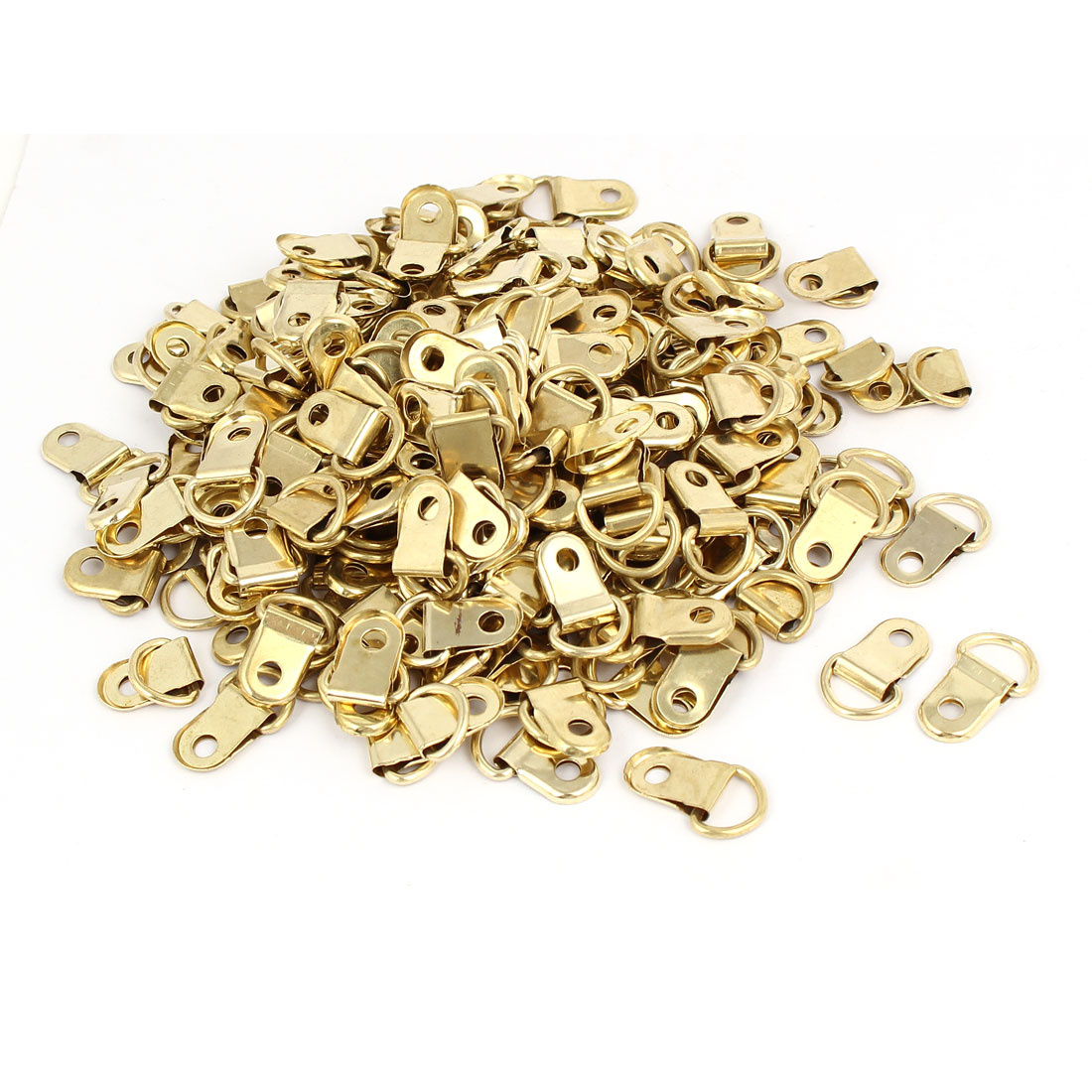 25mmx14mm Iron Single Hole D-Ring Picture Photo Frame Hanger Gold Tone 300pcs