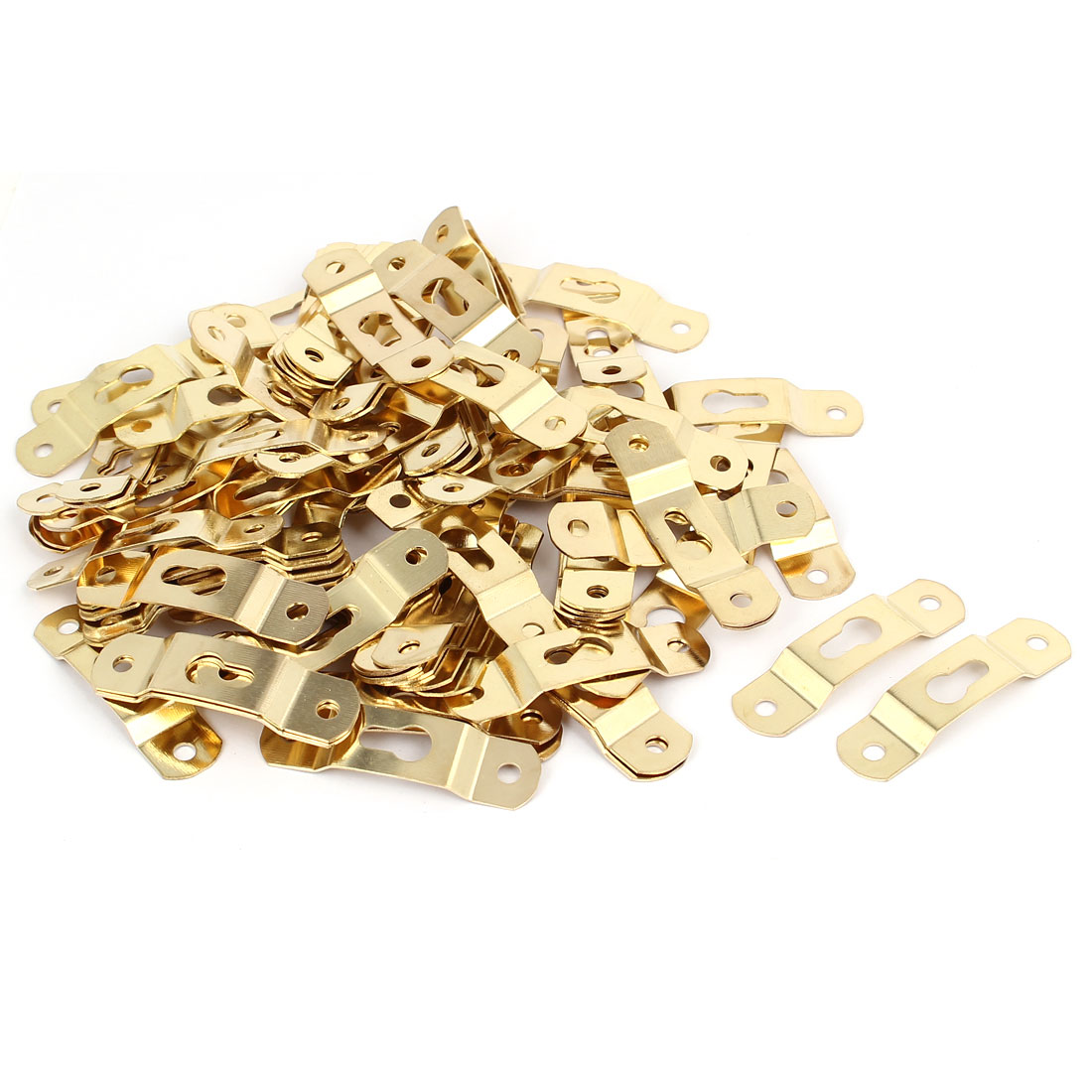 50mmx13mmx4mm Wall Hanging Picture Photo Frame Hidden Hook Gold Tone 100pcs