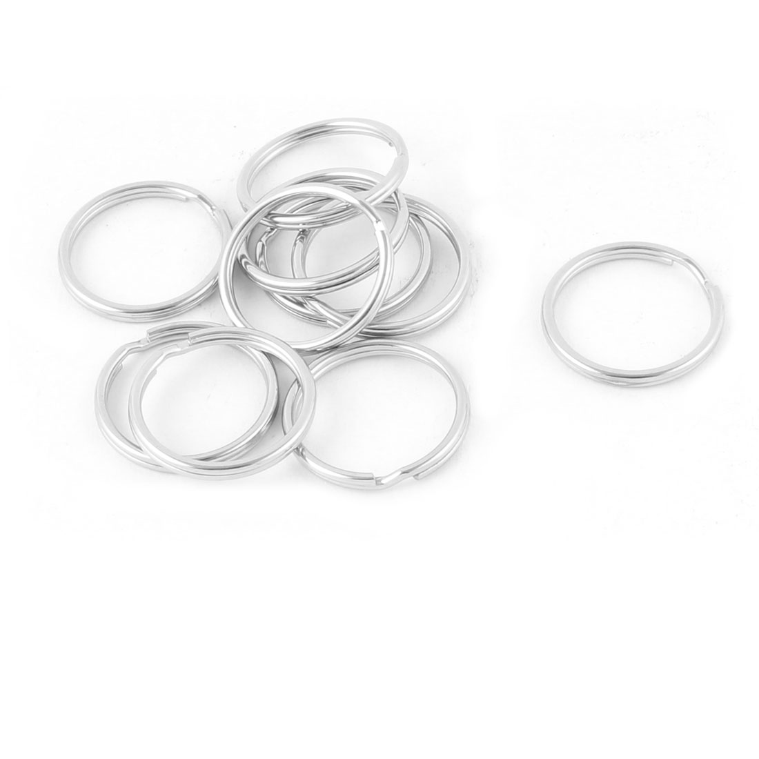 Home Hiking Stainless Steel Round Shaped Ring Keychain Keyring Holder 10pcs