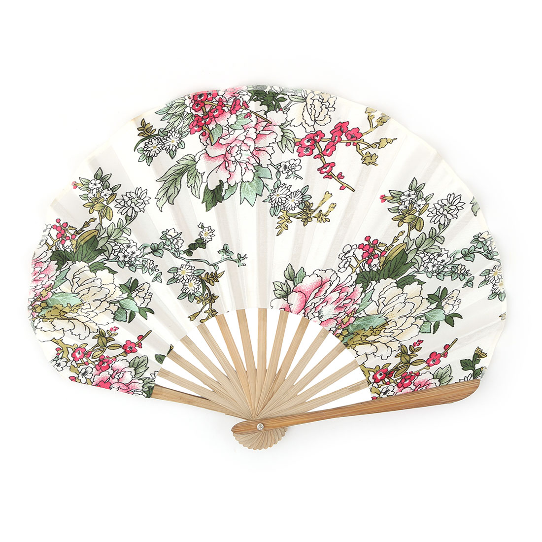 Home Bamboo Frame Peony Printed Ornament Handheld Folding Hand Fan Multicolor