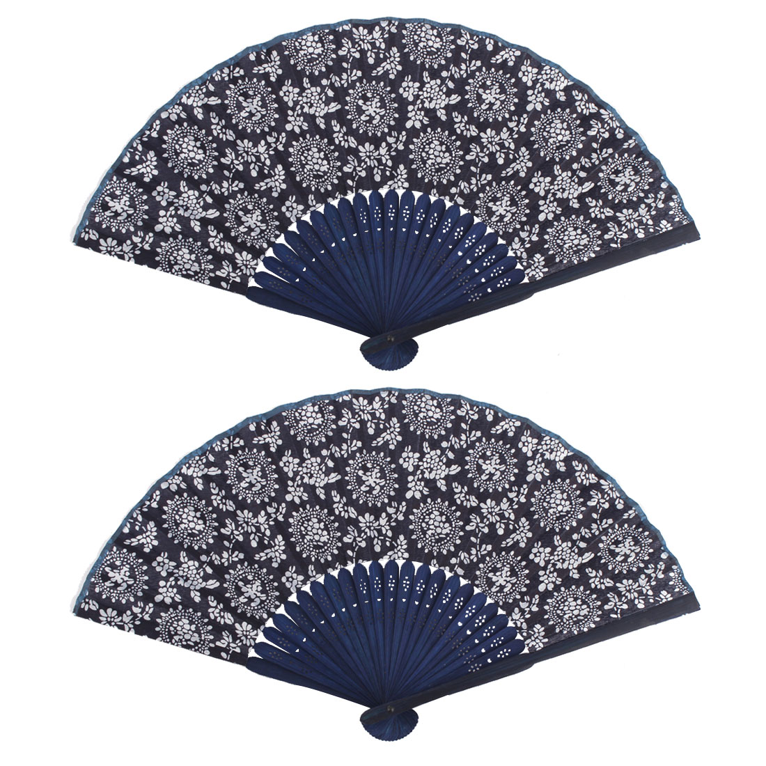 Boutique Bamboo Frame Flower Pattern Decorations Oriental Folding Fan 2 PCS