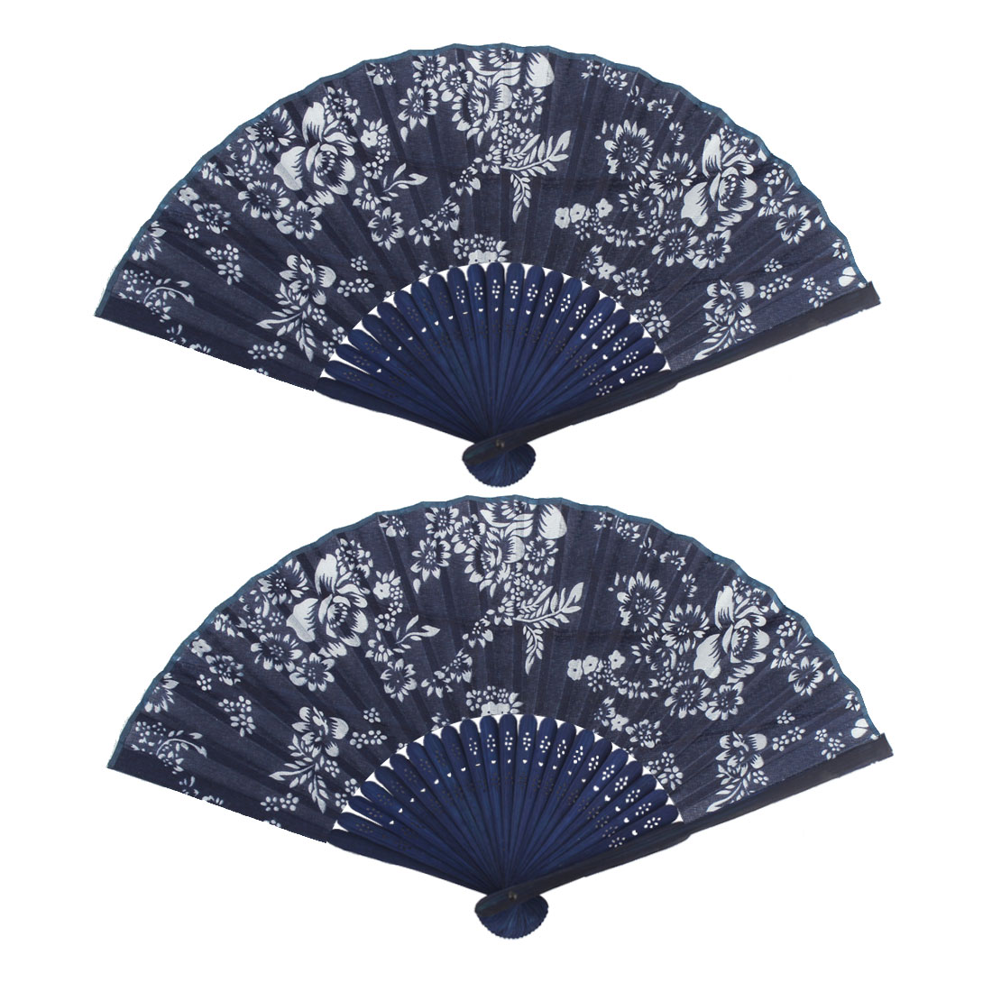 Stage Performance Flower Pattern Exquisite Elegant Decorative Folding Fan 2 PCS