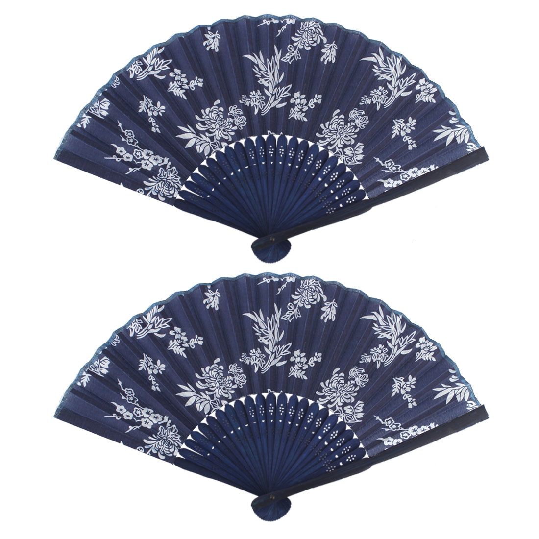 Dancing Chrysanthemum Pattern Exquisite Vintage Decorative Folding Fan 2 PCS