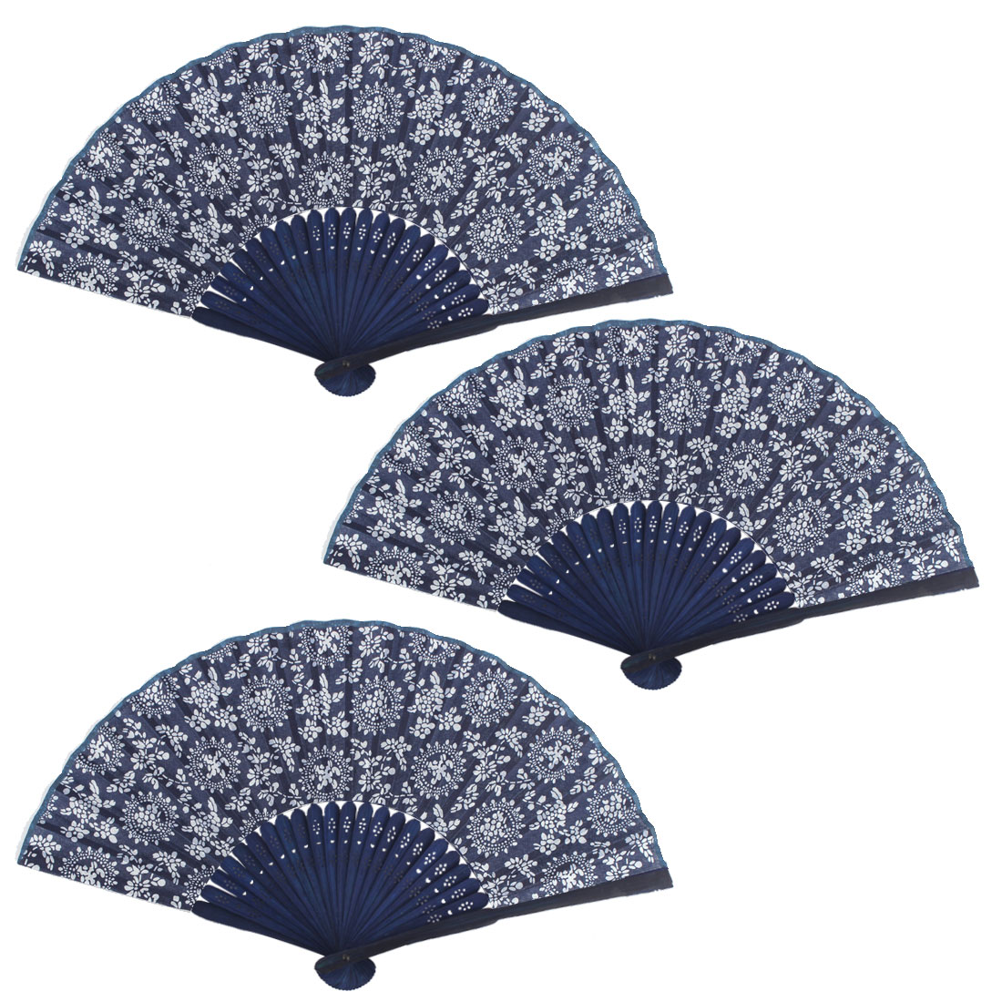 Home Bamboo Frame Flower Pattern Collections Oriental Craft Folding Fan 3 PCS