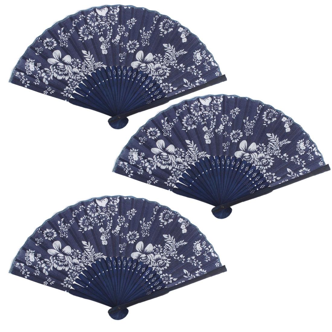 Women Performance Dancing Flower Pattern Elegant Decorative Folding Fan 3 PCS
