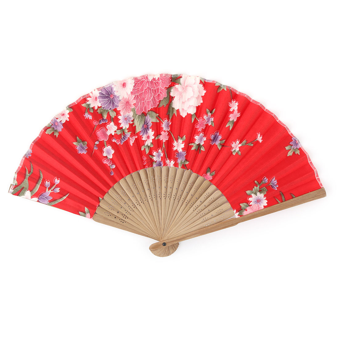 Home Bamboo Frame Peony Flower Printed Craft Ornament Handheld Foldable Hand Fan