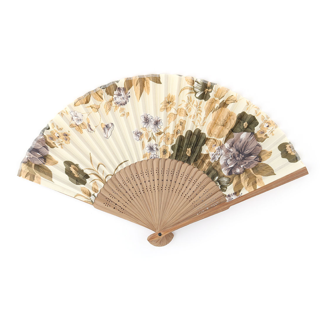 Bamboo Frame Peony Pattern Foldable Design Handheld Folding Hand Fan Multicolor