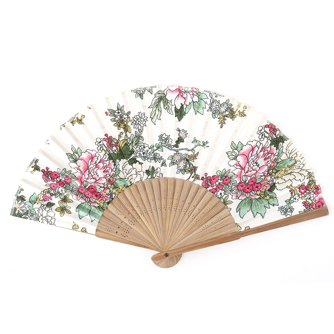 Dancing Party Bamboo Frame Peony Printed Craft Ornament Folding Hand Fan