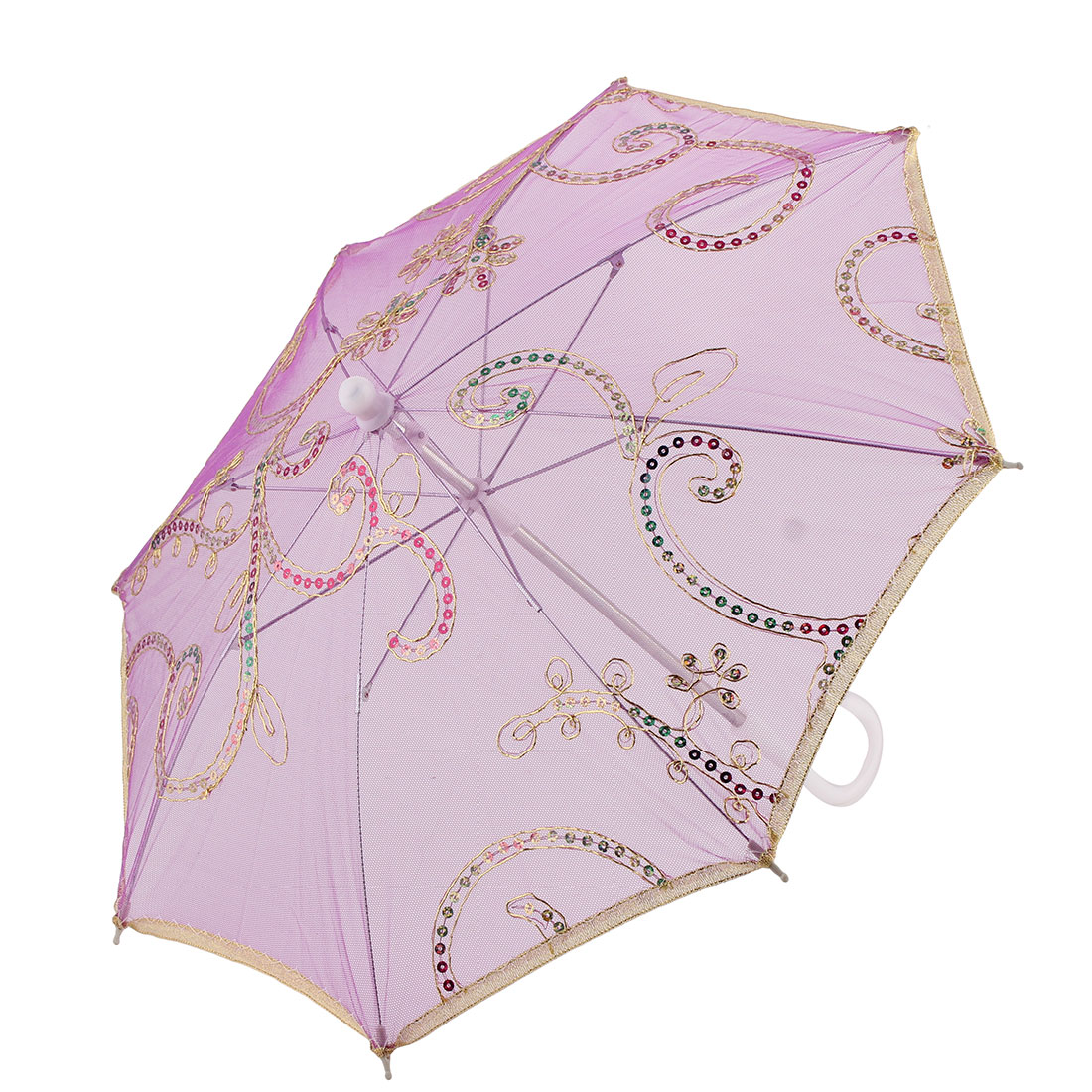 Lady Festival Dancing Lace Floral Pattern Sequin Decor Handle Foldable Umbrella Purple