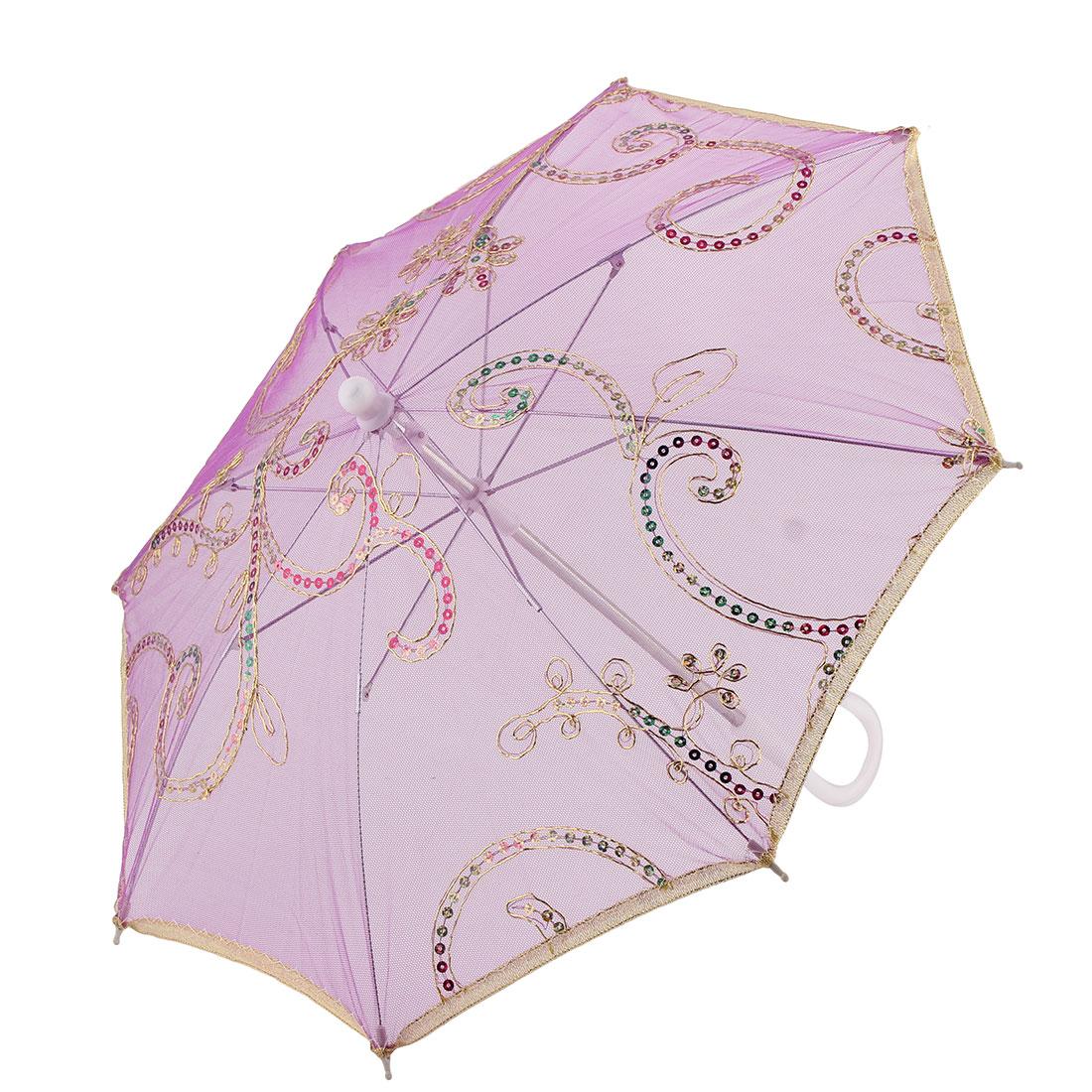 Lady Festival Dancing Lace Floral Pattern Sequin Decor Handle Foldable Umbrella Purple