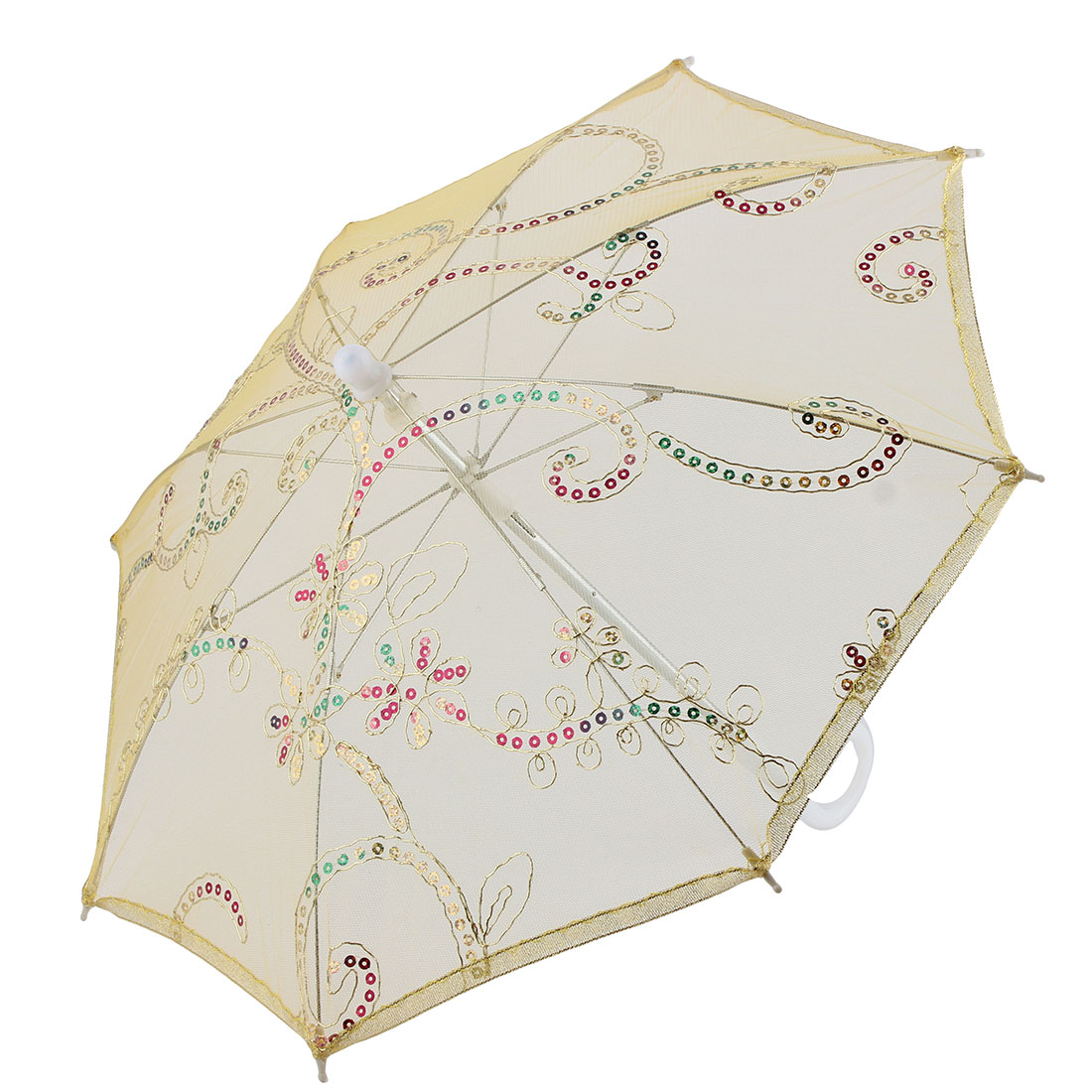 Lady Party Lace Floral Pattern Sequin Decor Handle Foldable Umbrella Yellow