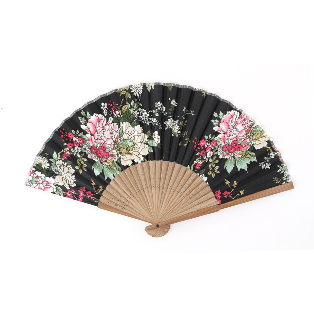 Home Bamboo Frame Peony Pattern Foldable Hand Fan Ornament Multicolor