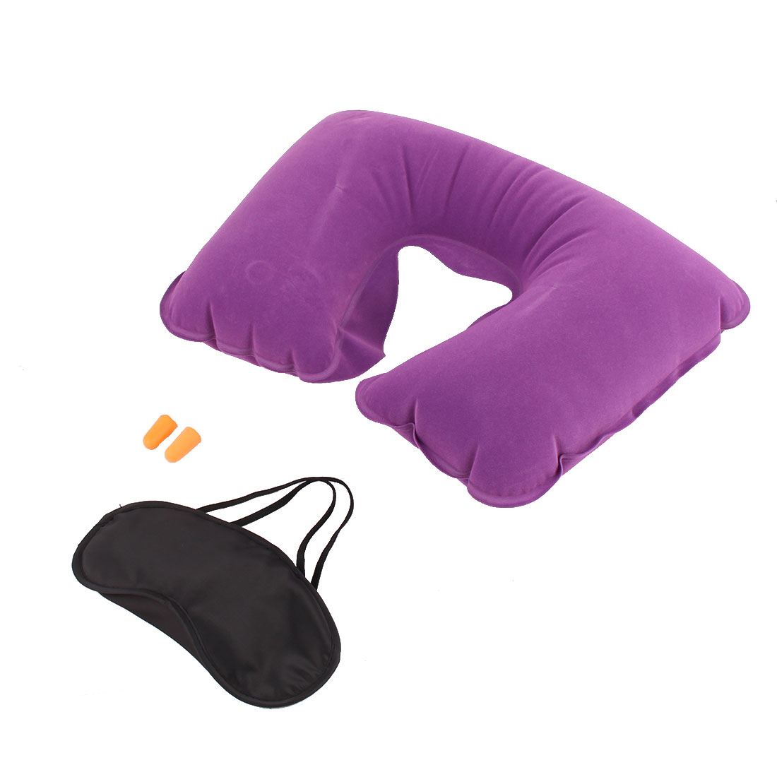 Travel Sleeping Rest Inflatable U Shaped Neck Pillow Eye Mask Earphone Purple 3 in 1