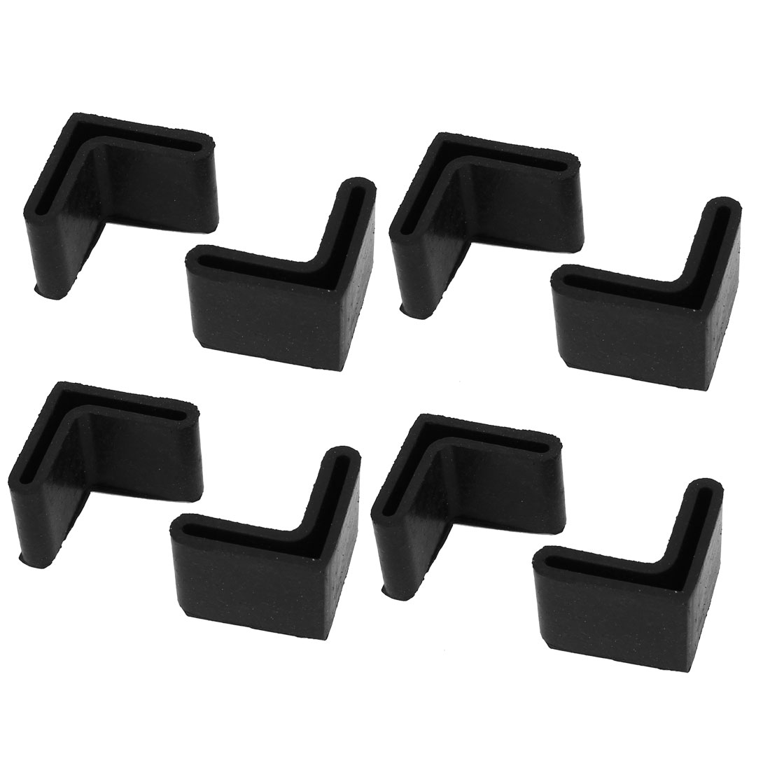 28mm x 28mm L Shaped Furniture Angle Iron Rubber Foot Leg Cover Black 8PCS